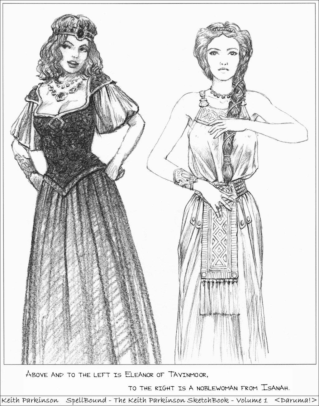 Картинка Кит Паркинсон Двое Фэнтези Девушки Рисованные платья  для мобильного телефона Keith Parkinson 2 два две вдвоем девушка Фантастика молодая женщина молодые женщины Платье