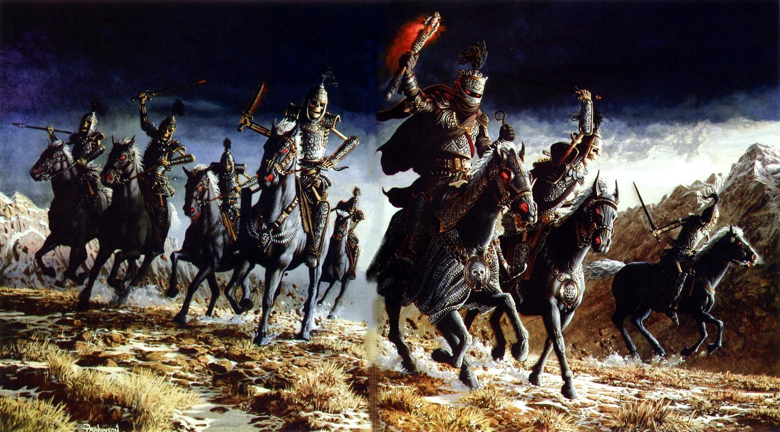 Картинки Лошади Кит Паркинсон Нежить Воители бежит Фэнтези лошадь Keith Parkinson Нечисть воин воины Бег бегущая бегущий Фантастика