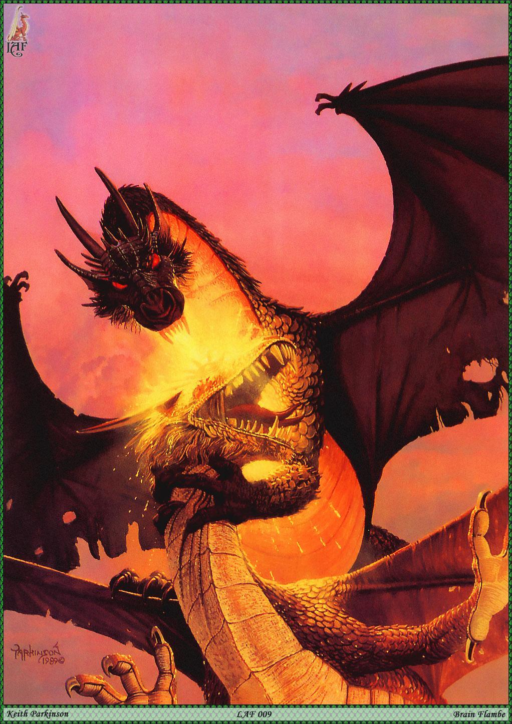 Фото дракон Keith Parkinson две сражение Фантастика пламя  для мобильного телефона Драконы Кит Паркинсон 2 два Двое Драка вдвоем дерется дерутся Фэнтези Огонь