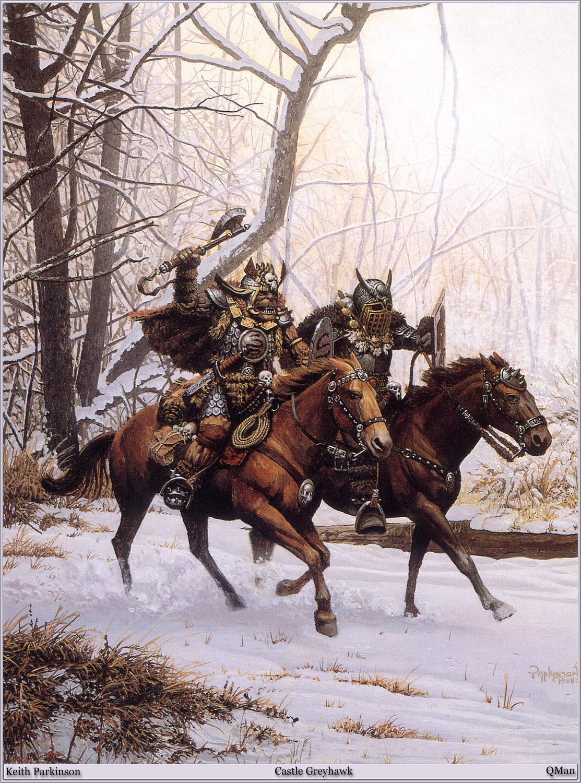 Картинка Орки Лошади Keith Parkinson воин два Фэнтези  для мобильного телефона лошадь Кит Паркинсон воины Воители 2 две Двое вдвоем Фантастика