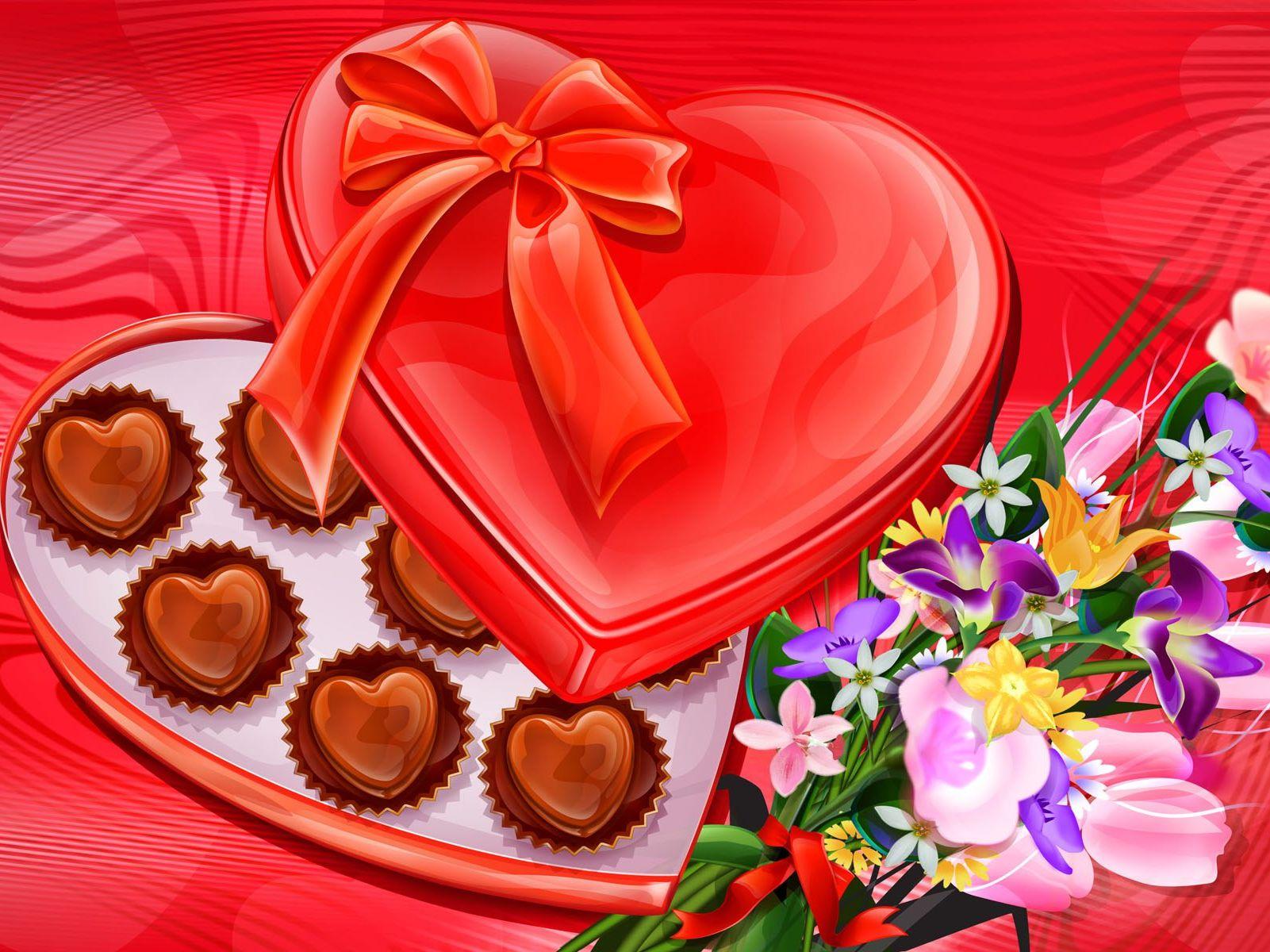 Открытка с конфетами и шоколадом 434