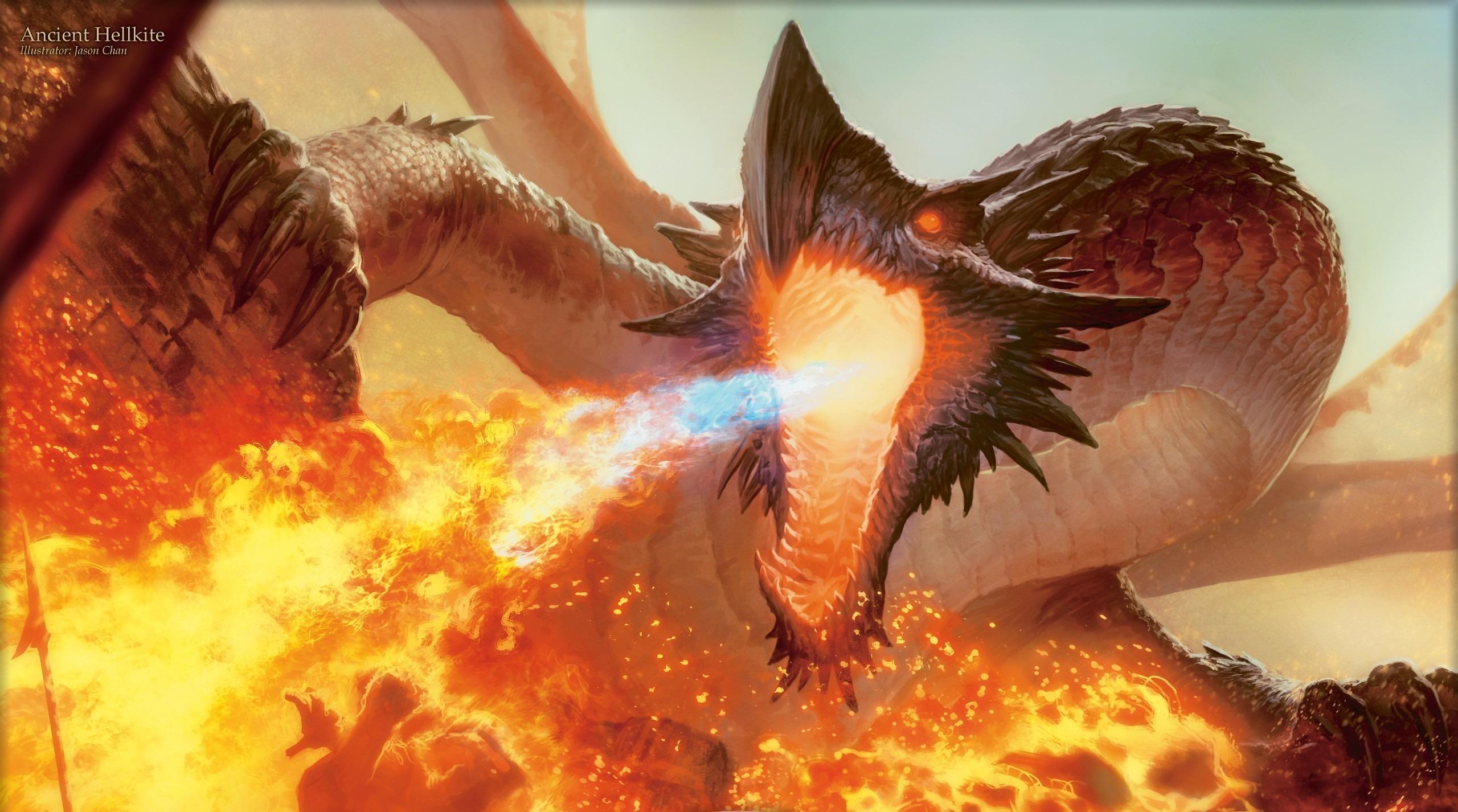 Картинки Драконы извергает пламя Фэнтези дракон Фантастика