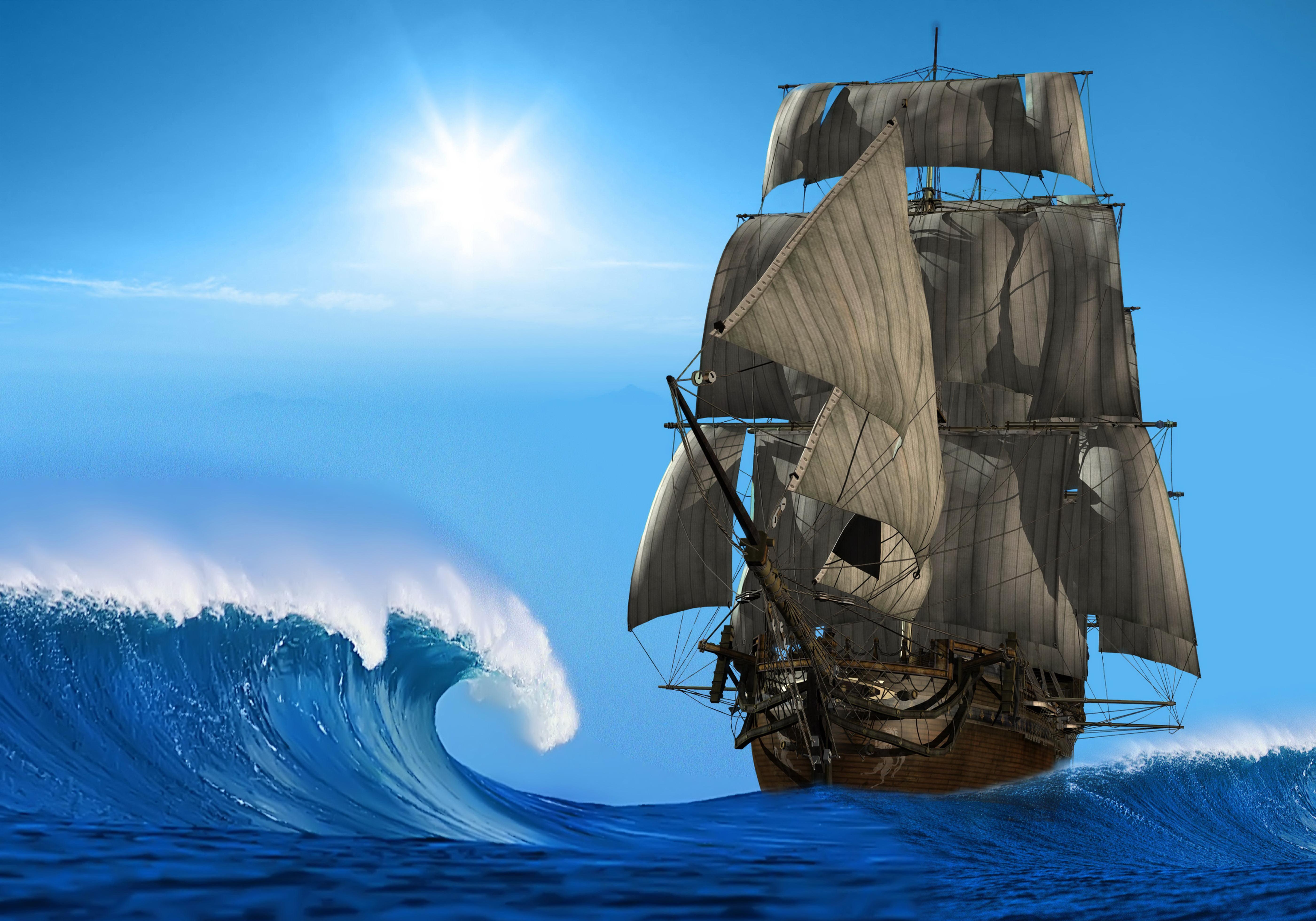 корабль паруса небо море скачать