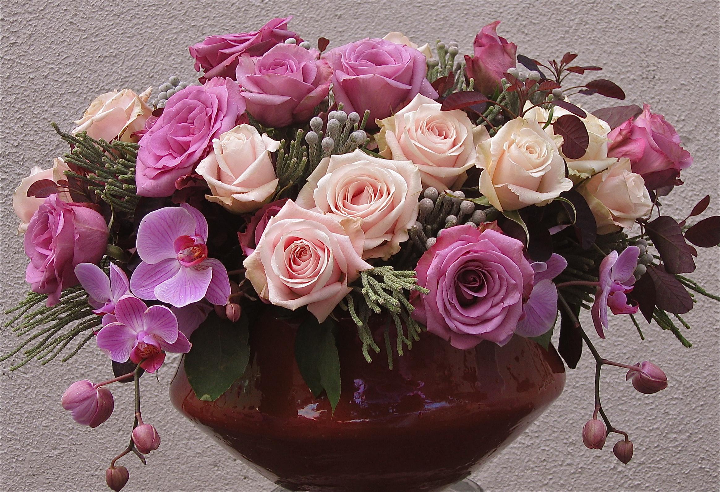 розы цветы ваза  № 1332648 без смс