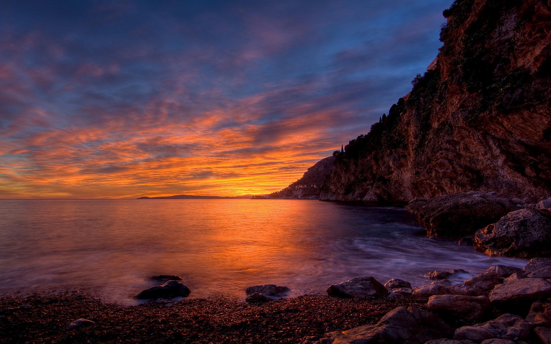 закат море горы скалы скачать