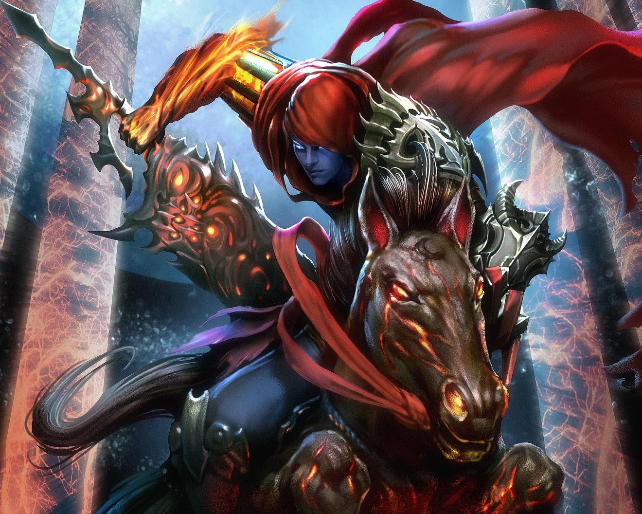 Картинки Мечи Лошади Воители воин с гигантским мечом на коне Фэнтези воины Фантастика