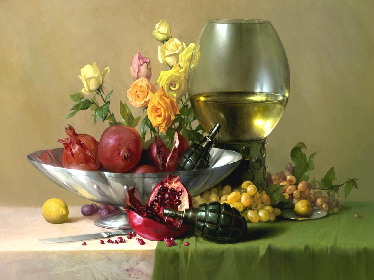 натюрморт с цветами обои: