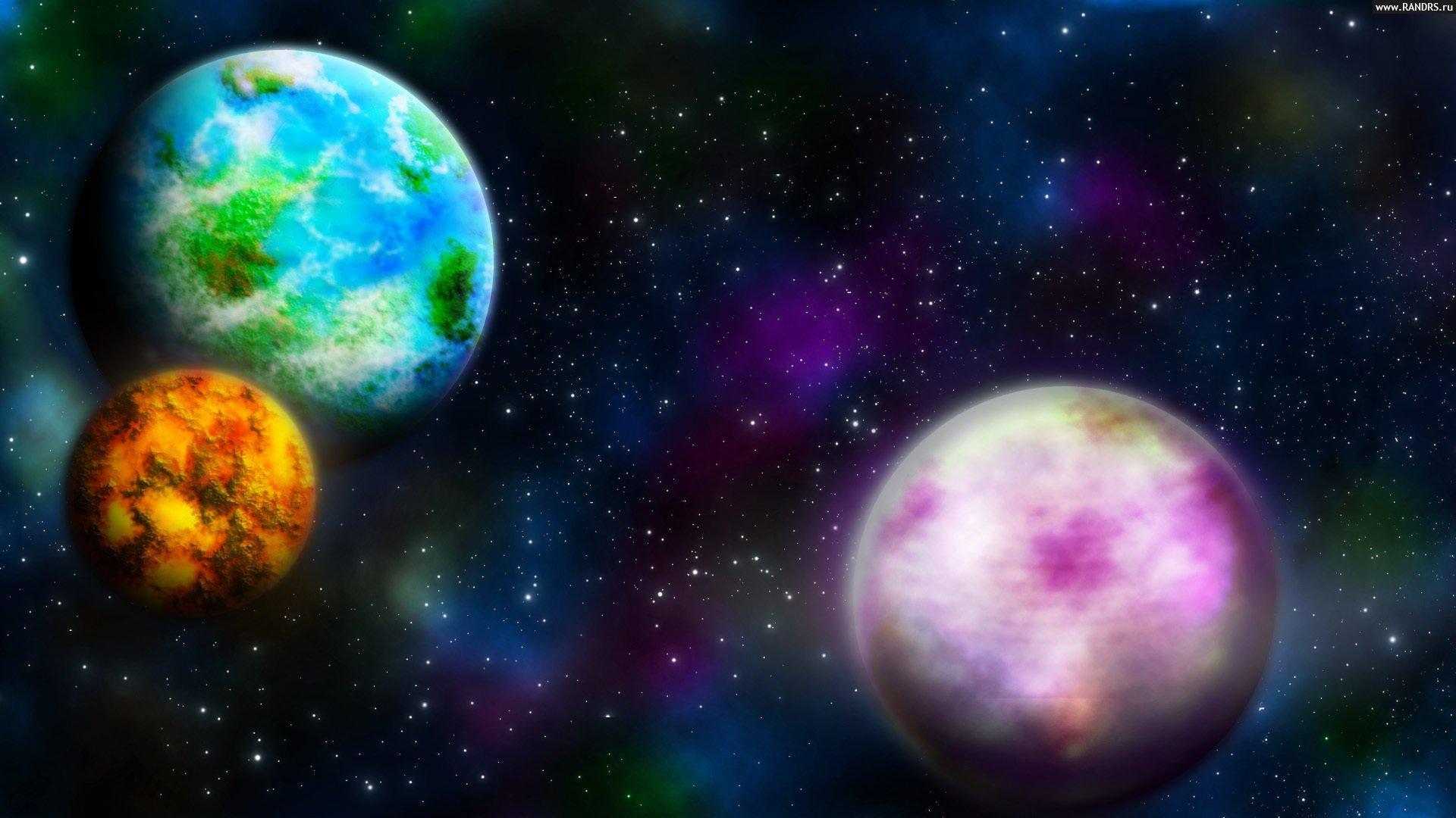 Обои радужная планета картинки на рабочий стол на тему Космос — скачать на телефон