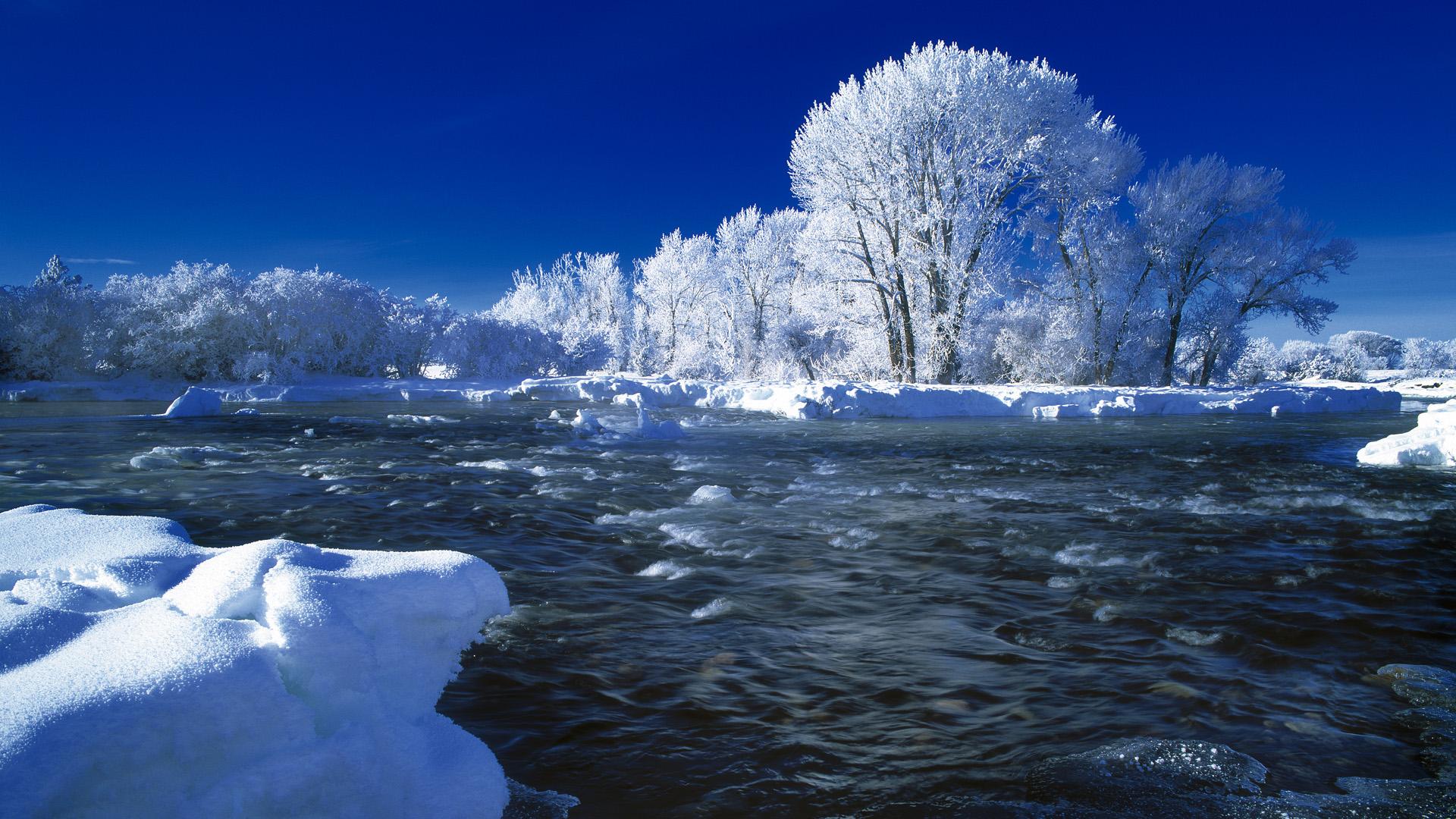 природа зима деревья река снег на телефон