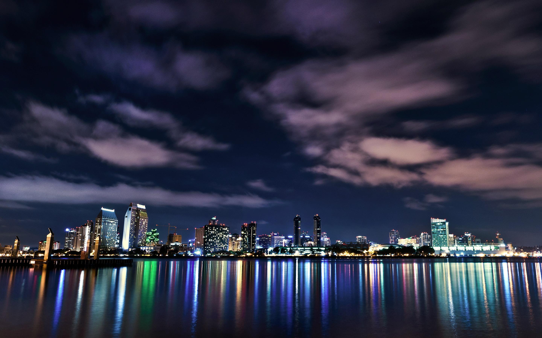 город ночь освещение отражение  № 3927537  скачать