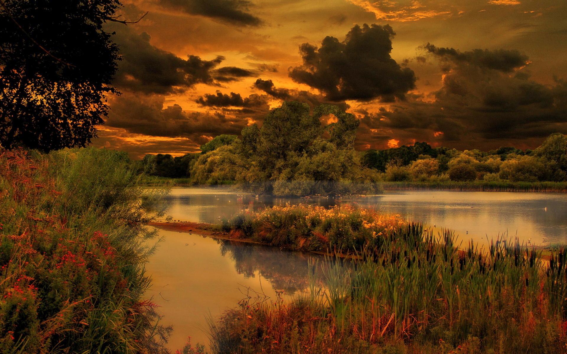 озеро в лесу на закате  № 380216  скачать