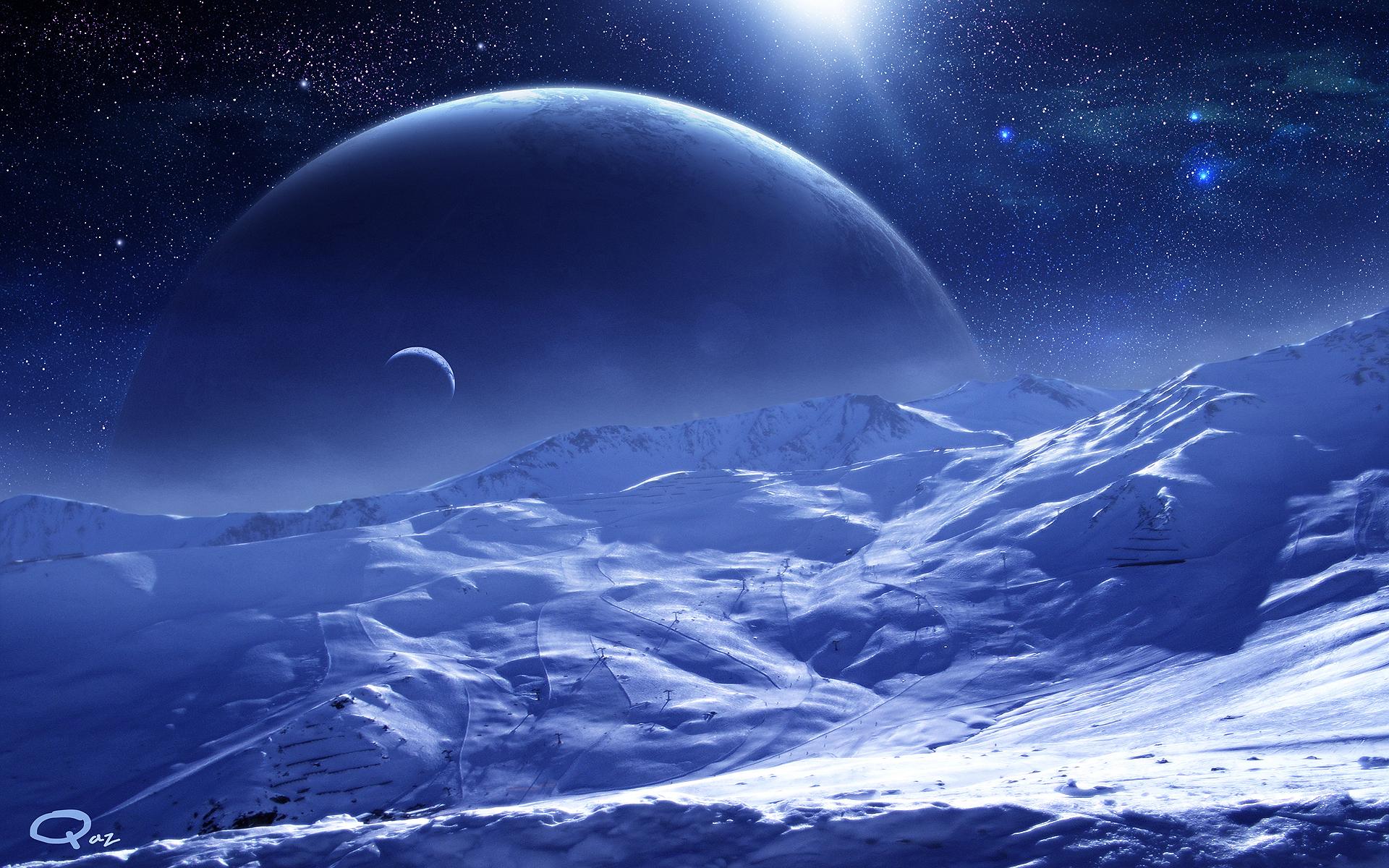 Обои Планета звезда спутник картинки на рабочий стол на тему Космос - скачать бесплатно