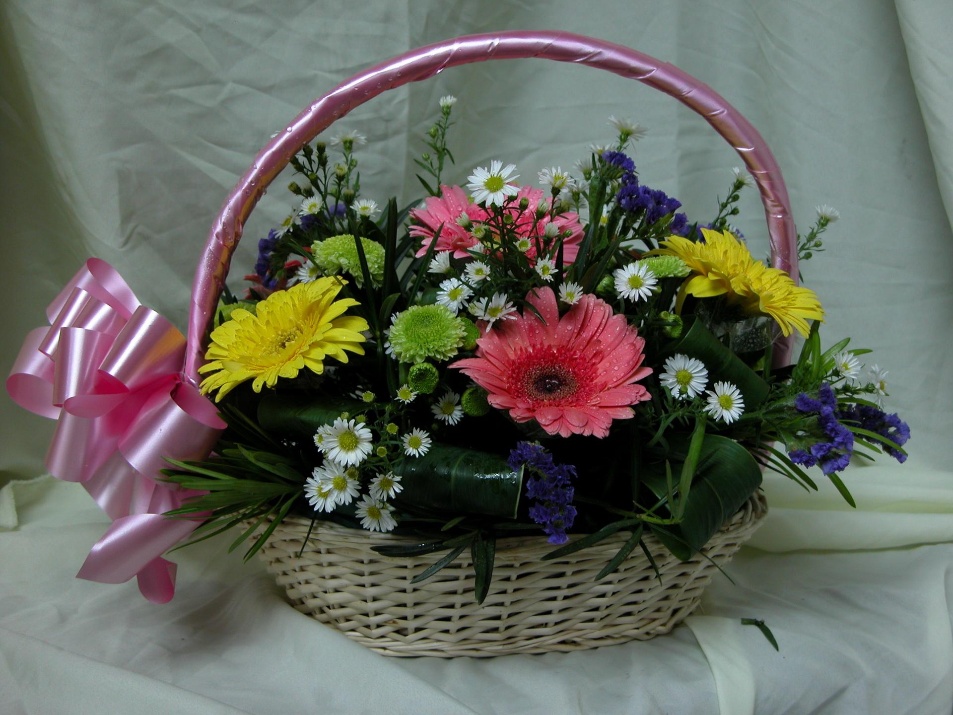 Корзина с цветами фото дома