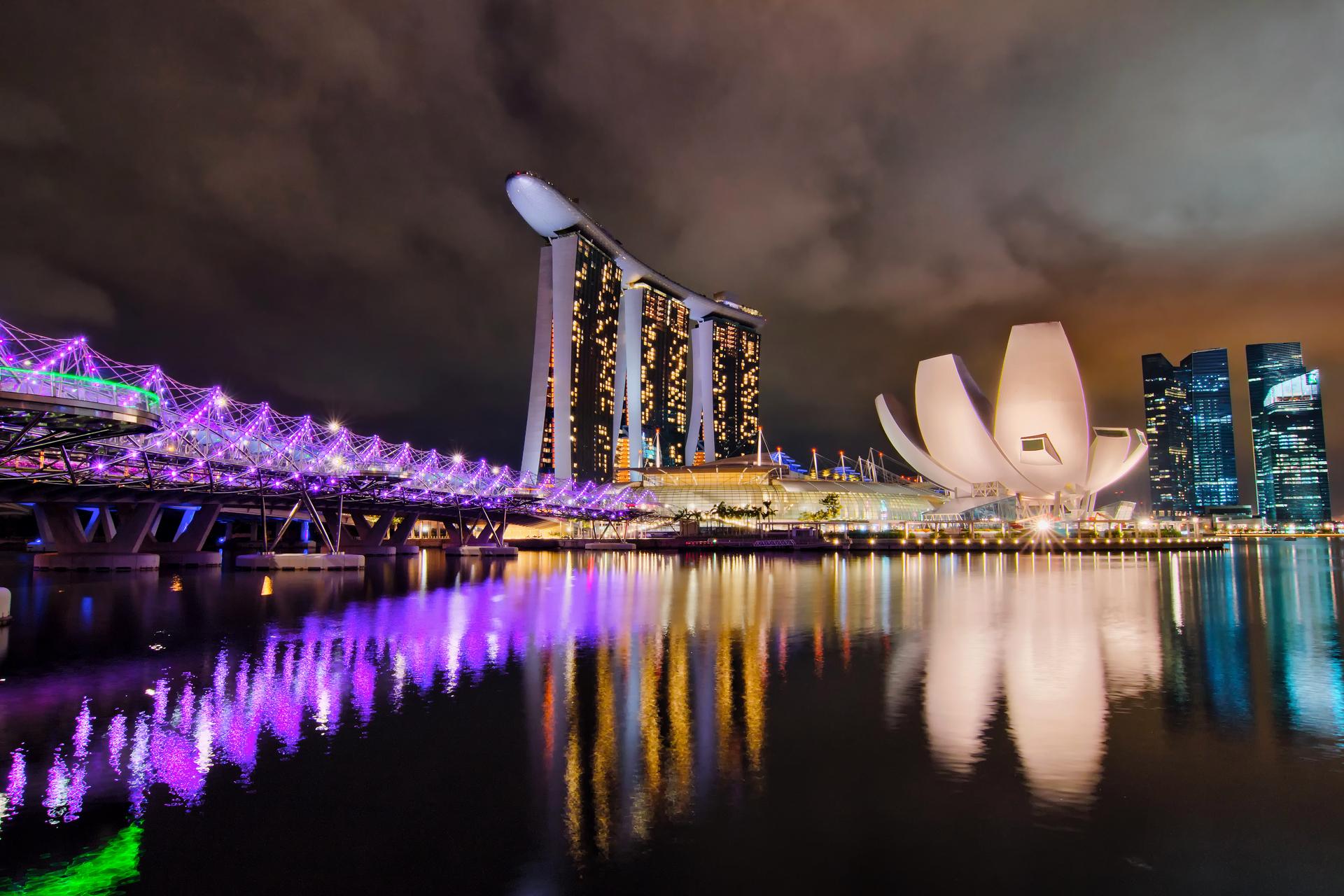 страны архитектура Сингапур ночь  № 1476074 загрузить