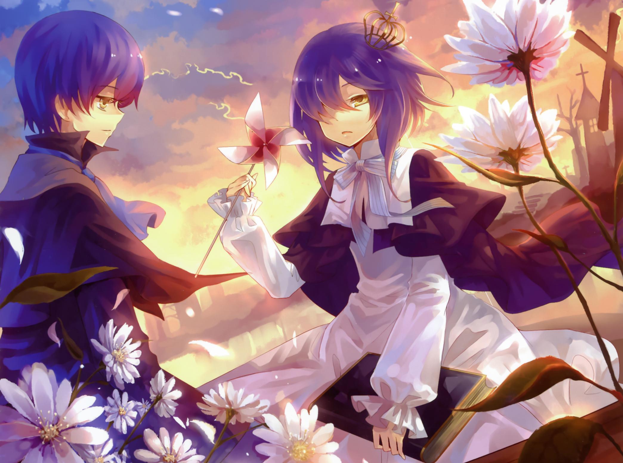 Скачать обои для рабочего стола мальчик, девочка, цветы, книга, корона