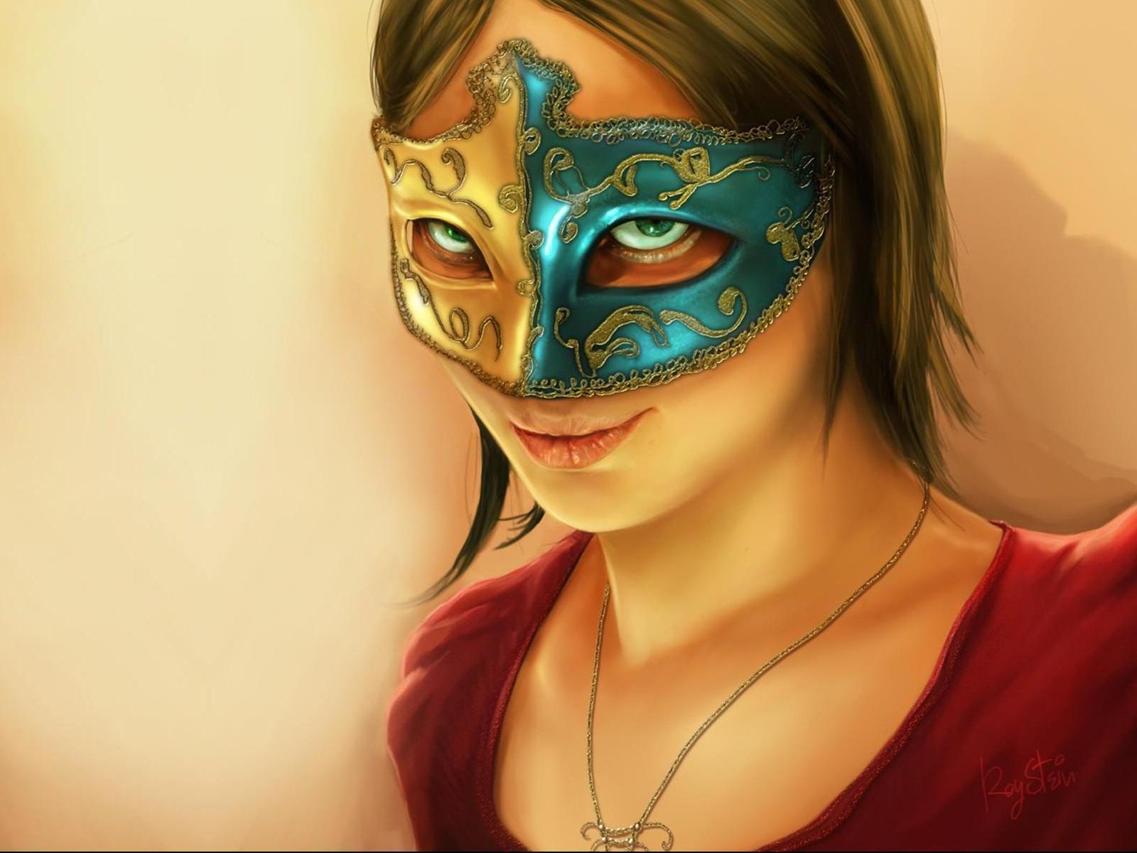 Девушка снимающая маску фото