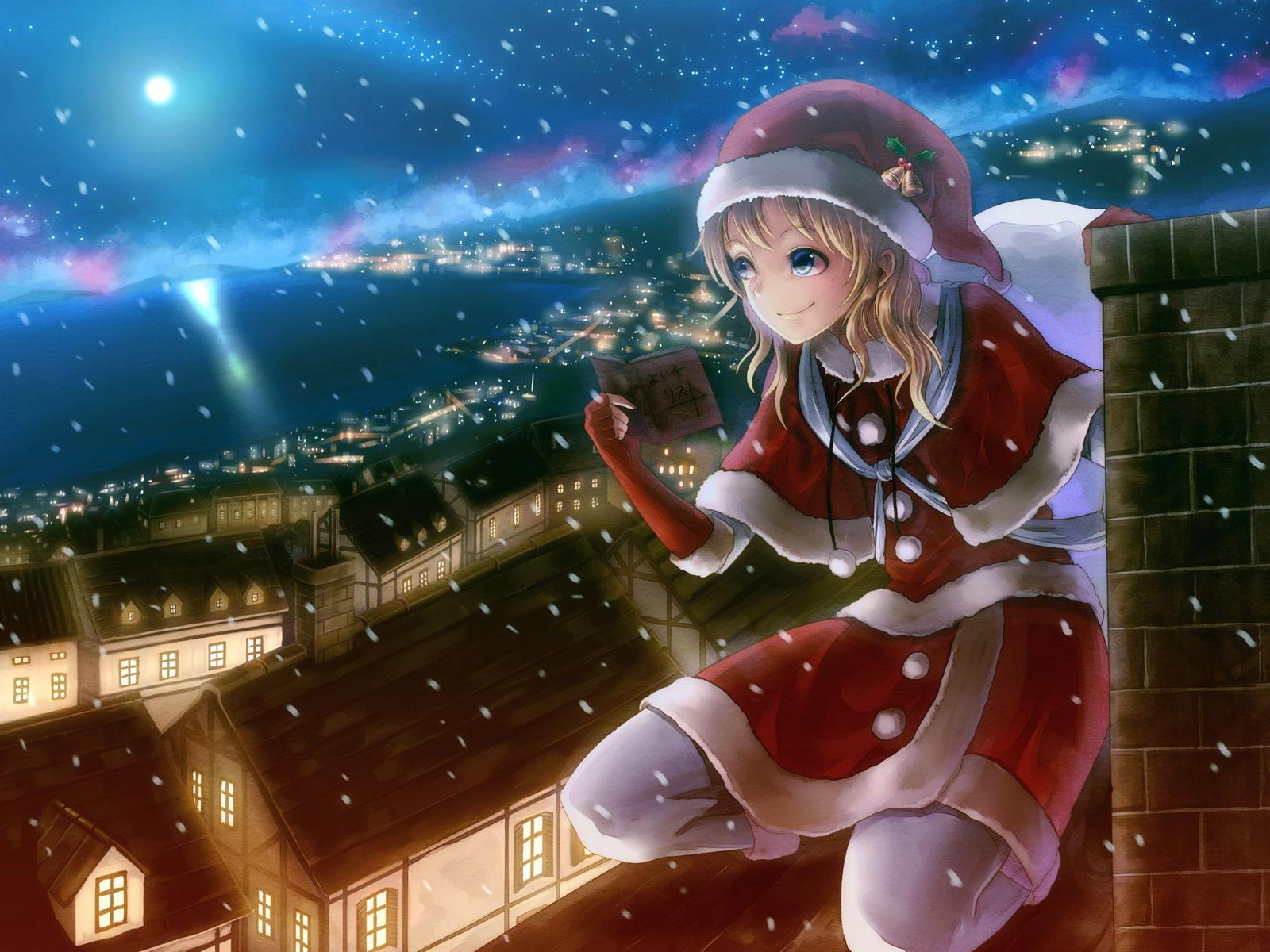 Фото девушки из аниме на новый год