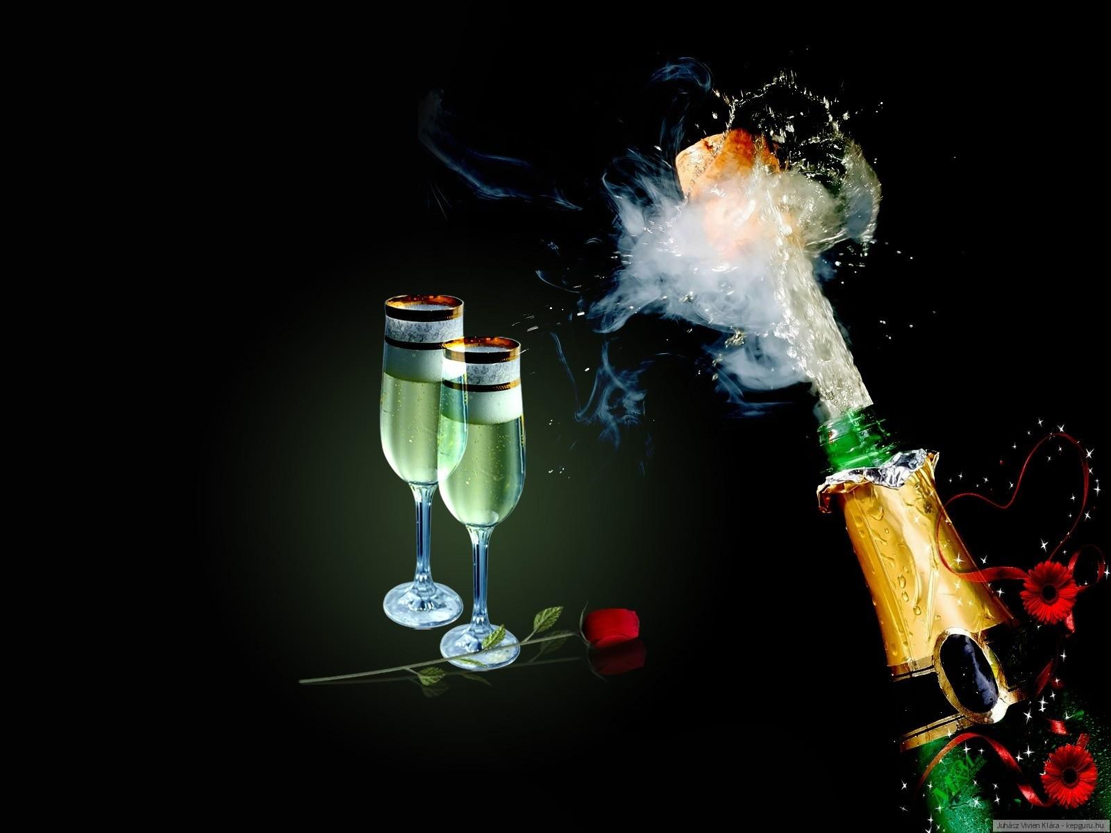 Бокал с шампанским открытка 347