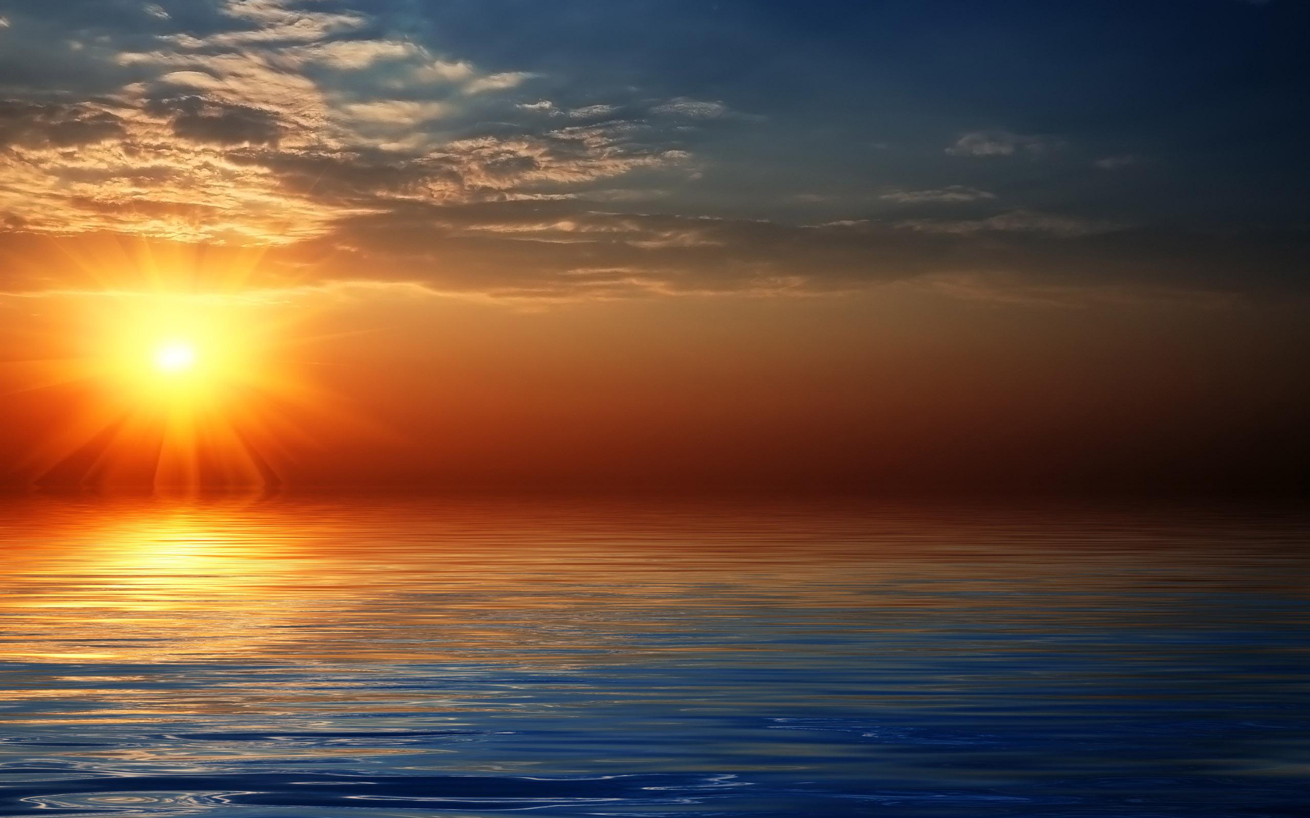 природа море солнце горизонт небо облака  № 717639 загрузить