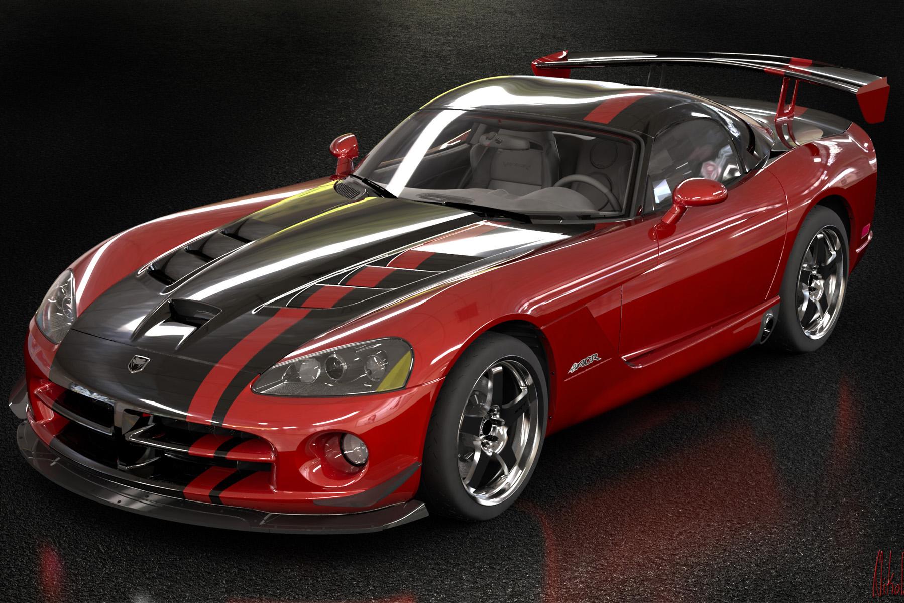 красный спортивный автомобиль Dodge Viper SRT  № 1128466 бесплатно