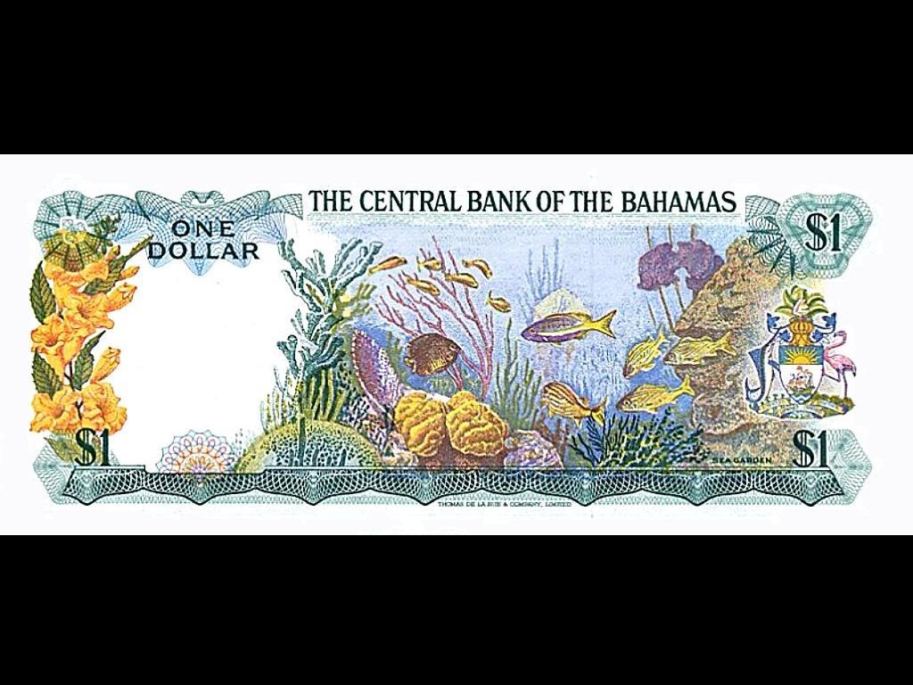 Обратная сторона банкноты Багамских островов номиналом 1 Доллар.