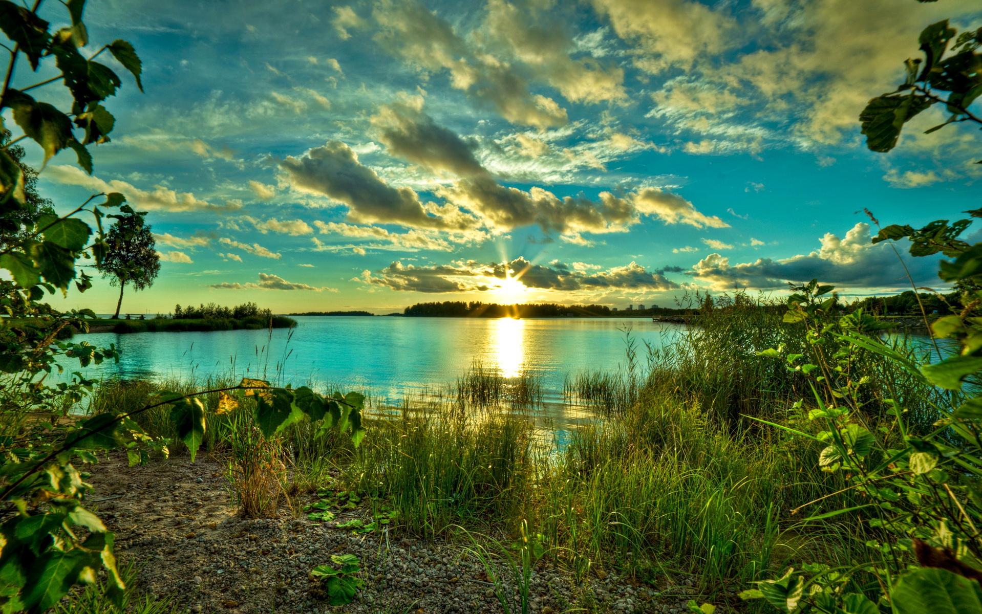 Обои река восход солнца на рабочий стол в хорошем качестве