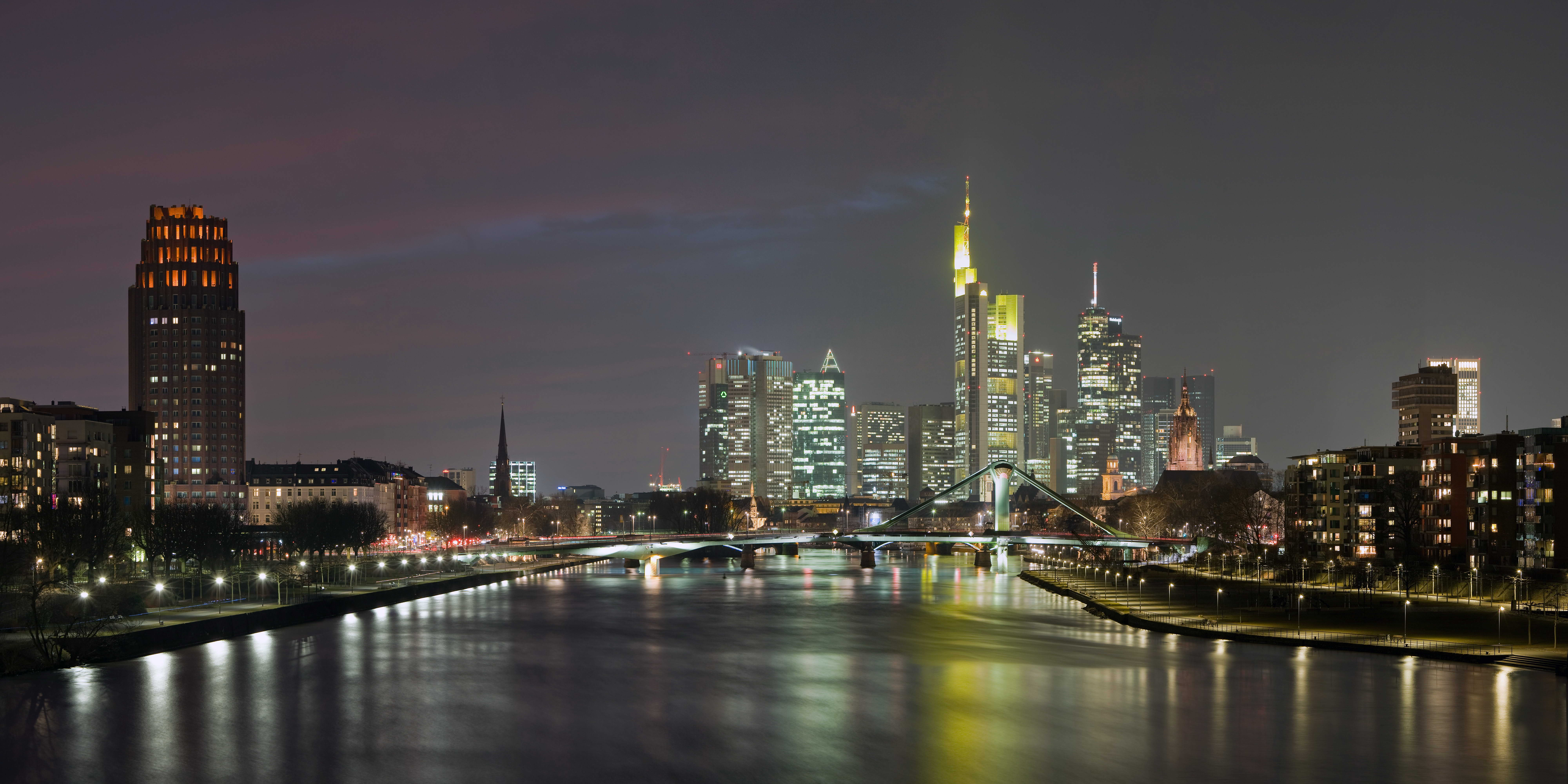 страны архитектура вечер город Франкфурт-на-Майне Германия  № 155517 без смс