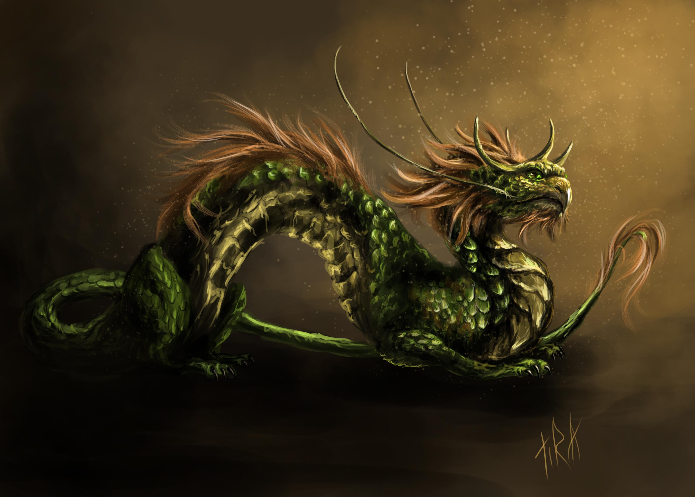 Нарисованый фэнтезийный зеленый дракон  № 3349170 бесплатно