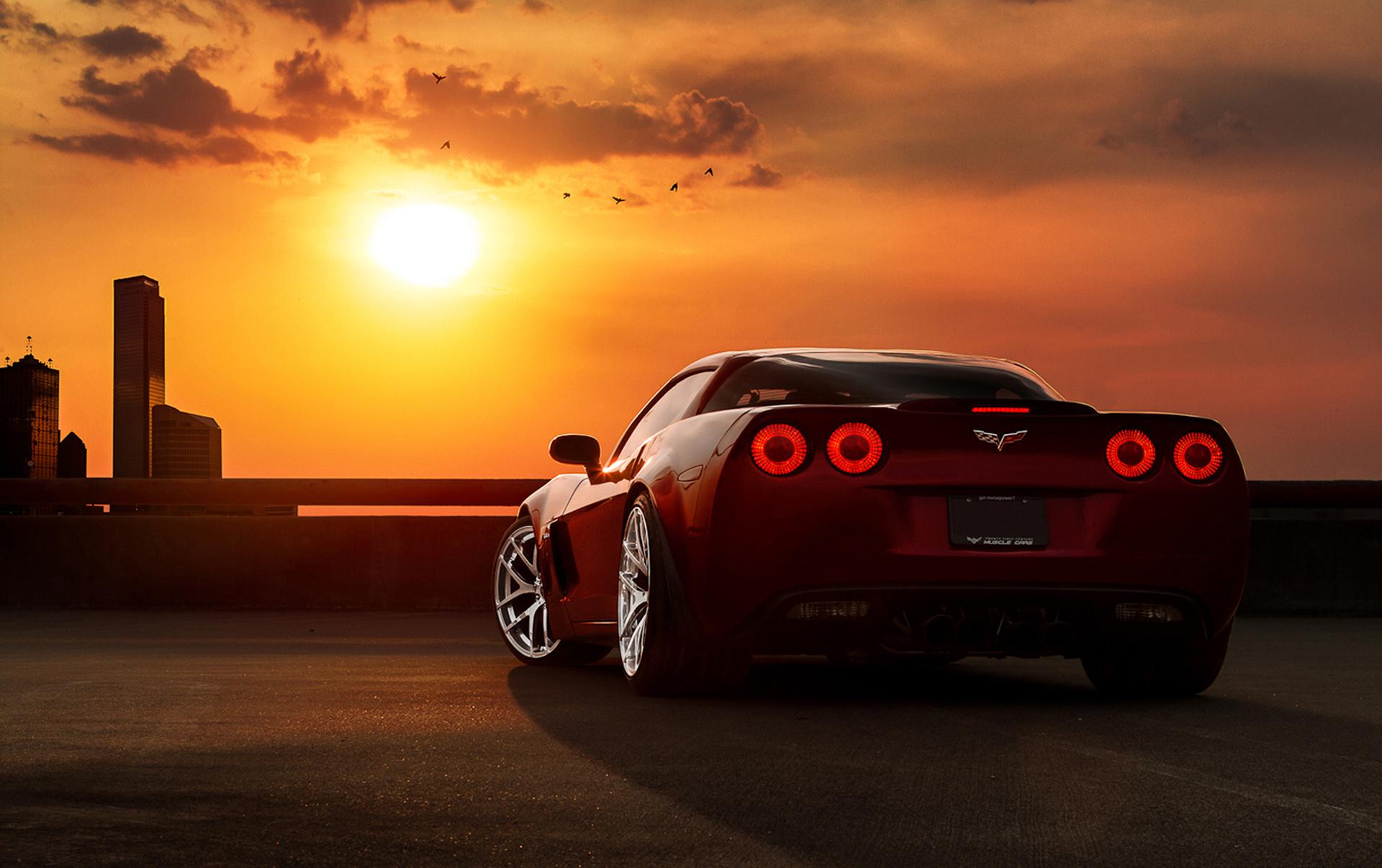 Chevrolet Corvette желтая дорога закат без смс