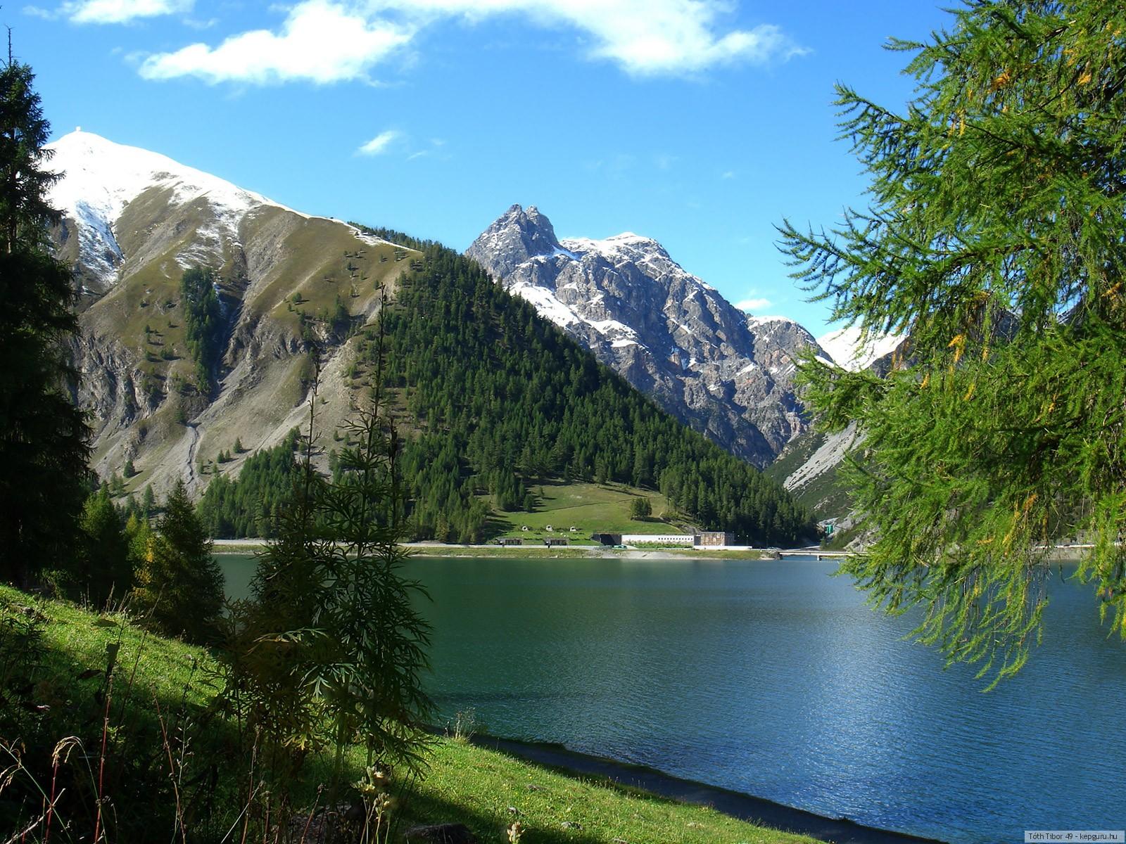 Пейзаж в горах чистое озеро и лес  Картинки на рабочий стол