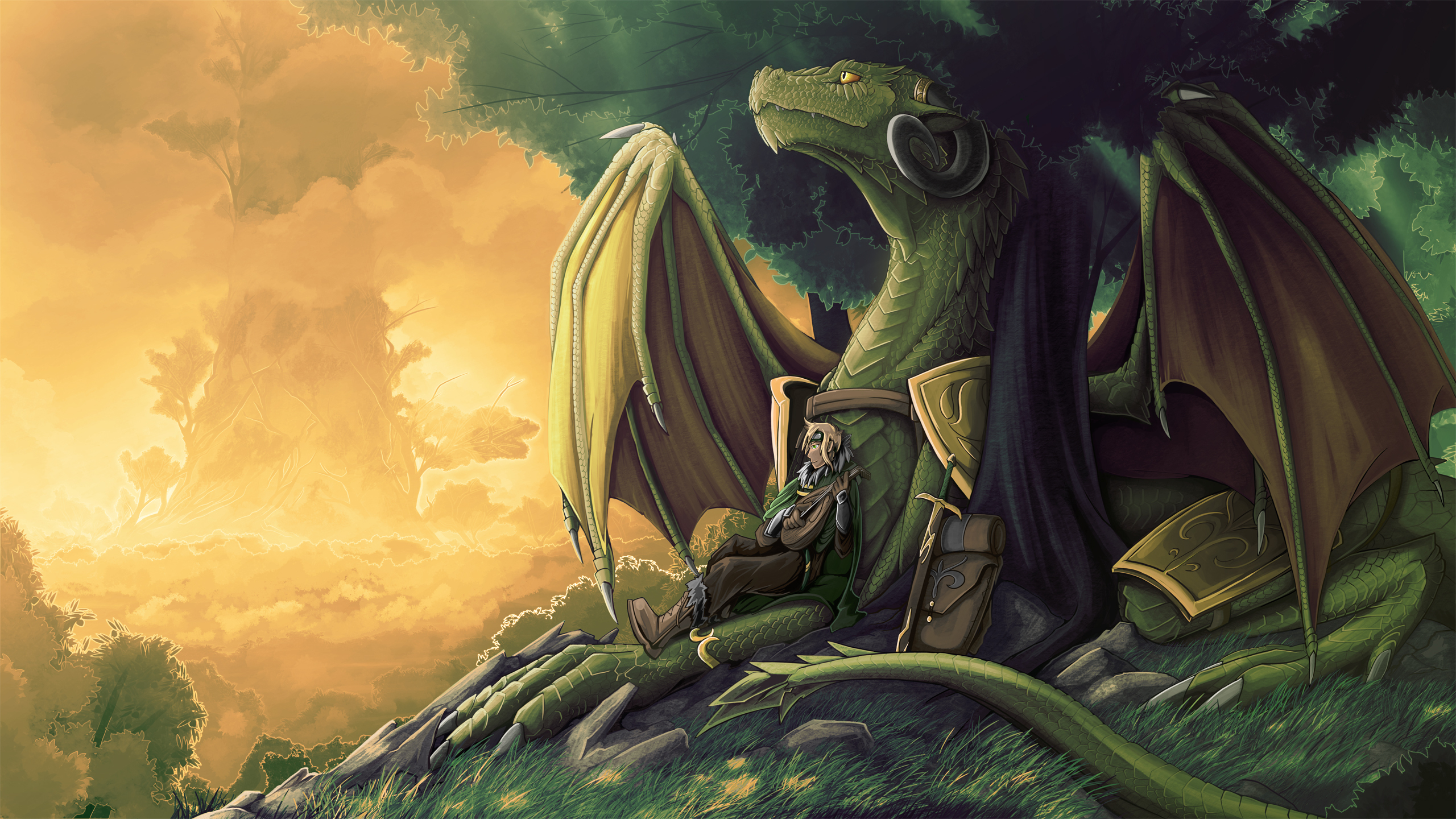 Нарисованый фэнтезийный зеленый дракон  № 3349280  скачать