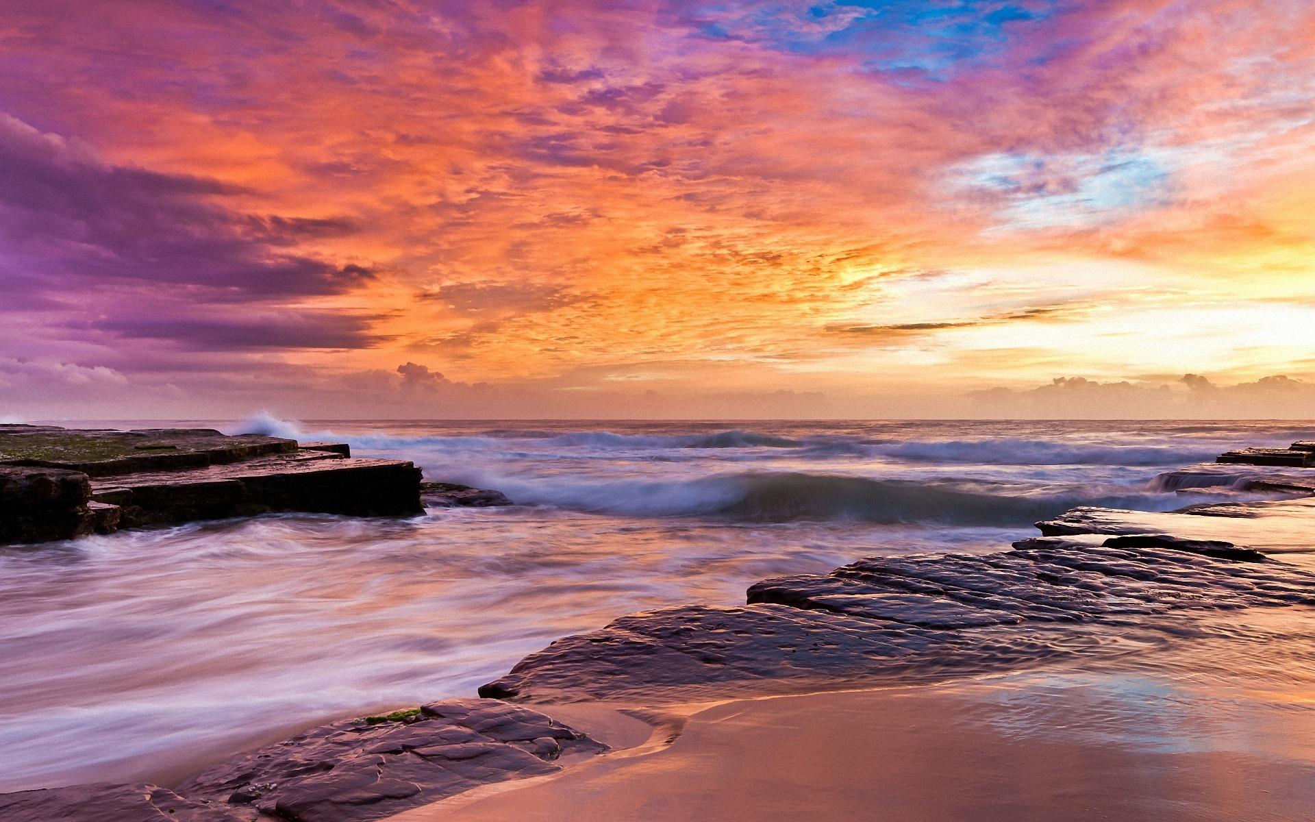 море, волны, закат загрузить