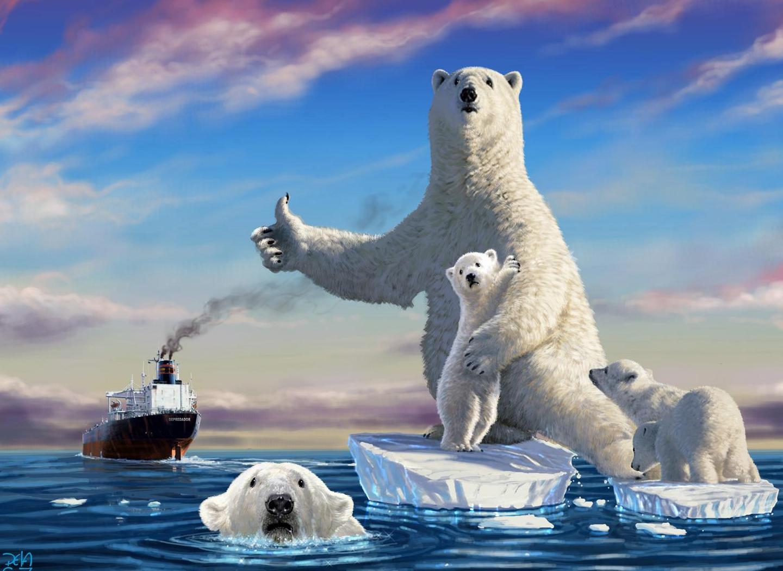 Белые медведи на льдинке бесплатно