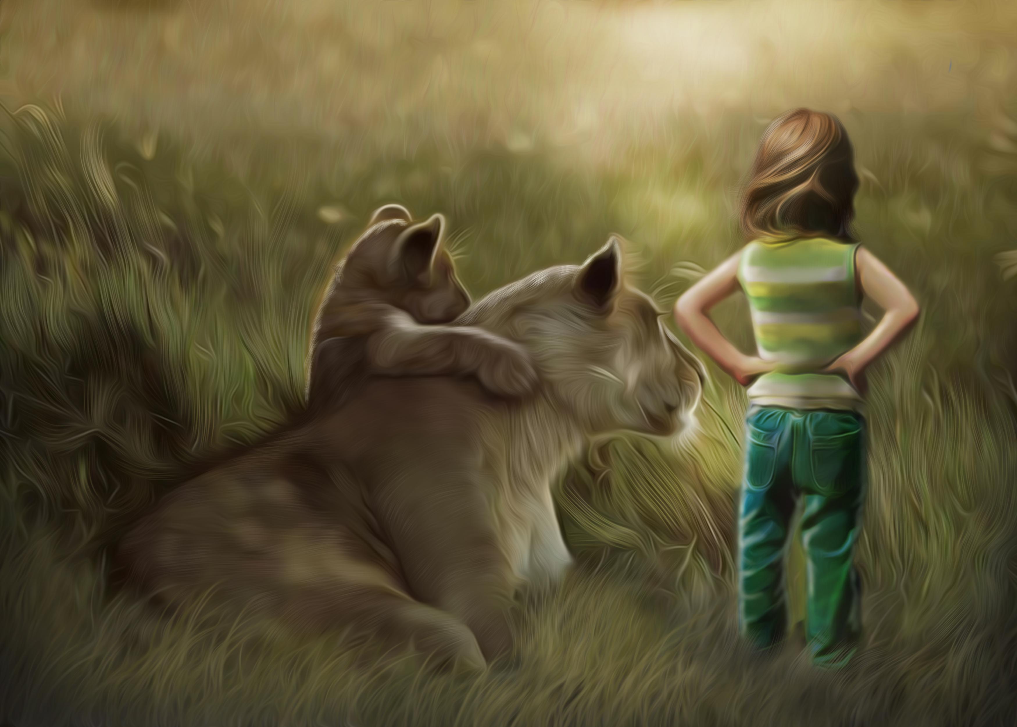 лев и львенок на траве без смс