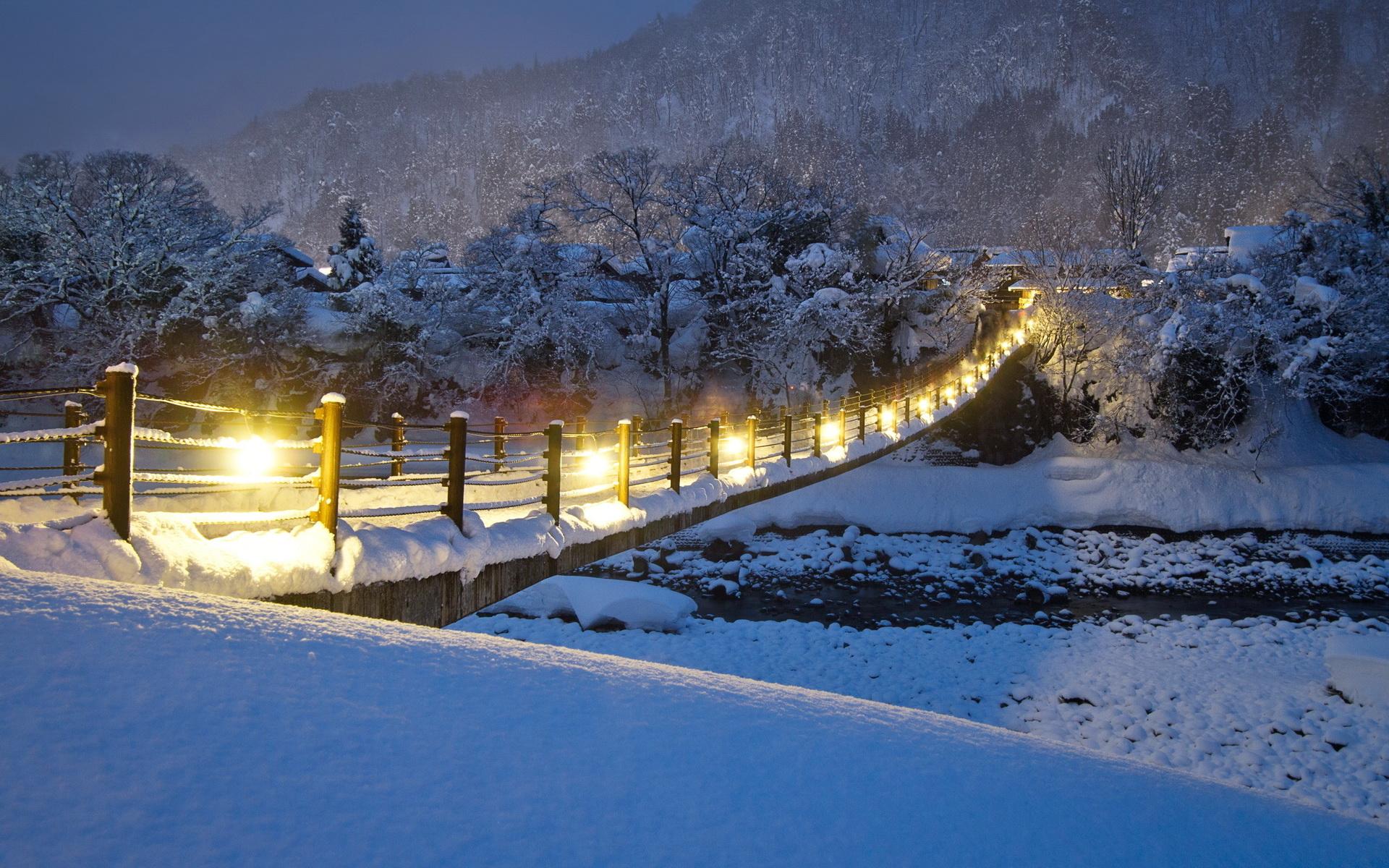 снег деревья мост скачать