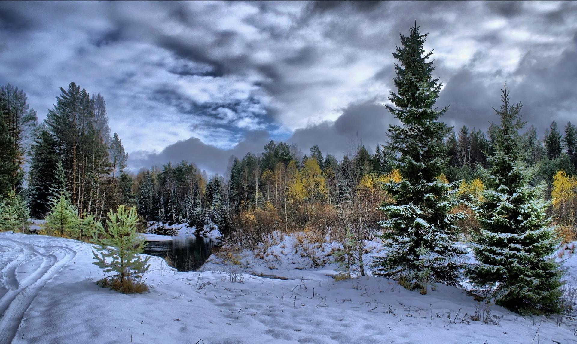 природа река зима снег бесплатно