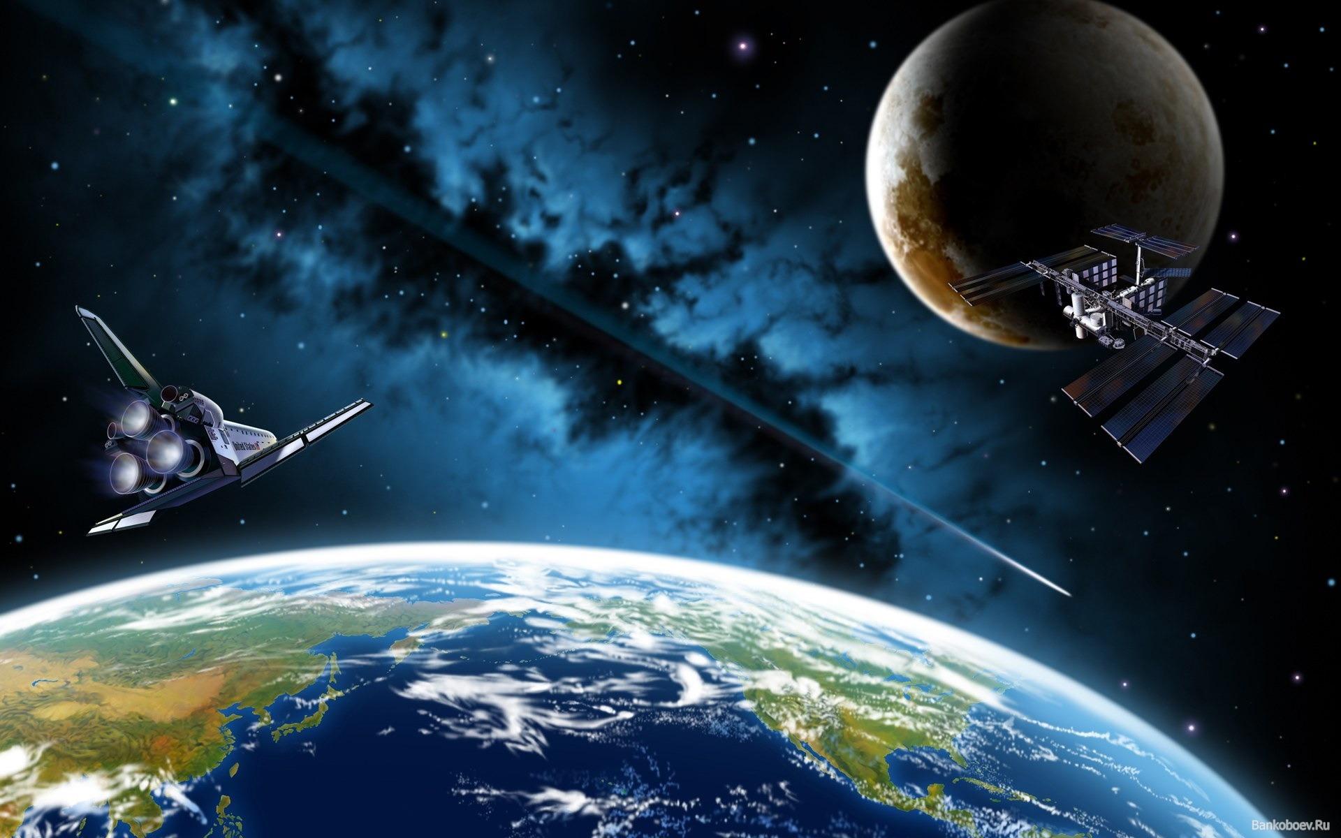 Обои Планеты и спутники над землей картинки на рабочий стол на тему Космос - скачать без смс