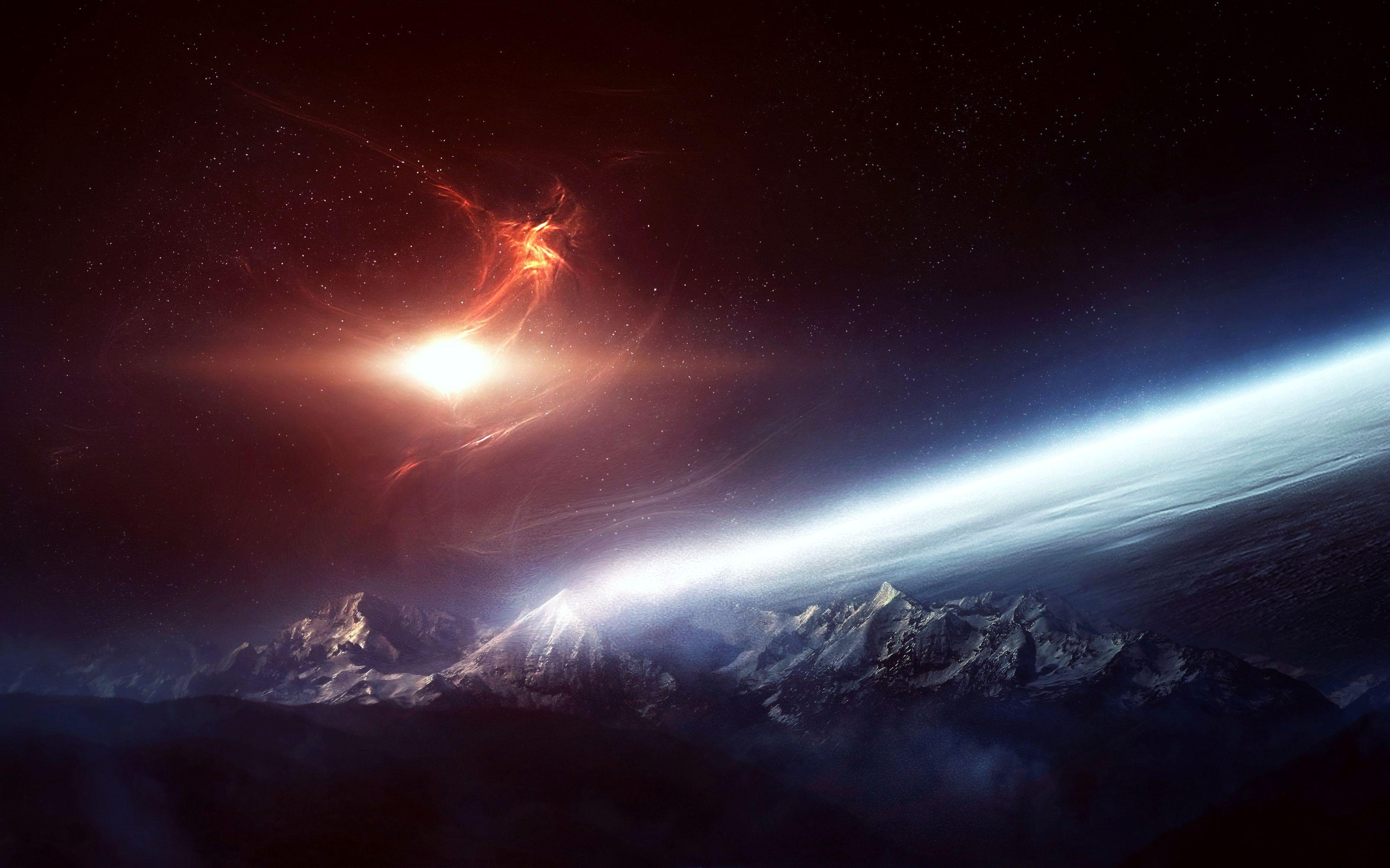Обои Свечение за планетами картинки на рабочий стол на тему Космос - скачать загрузить