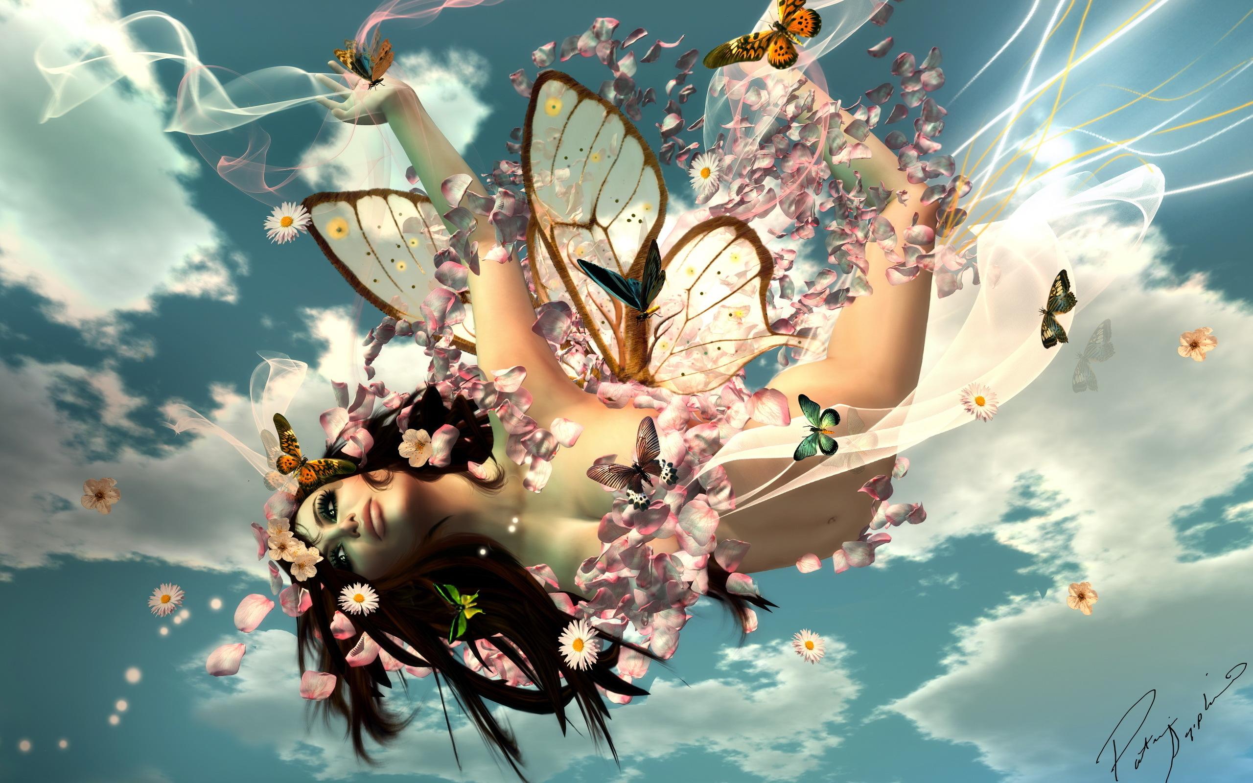 Девушка с бабочками без смс