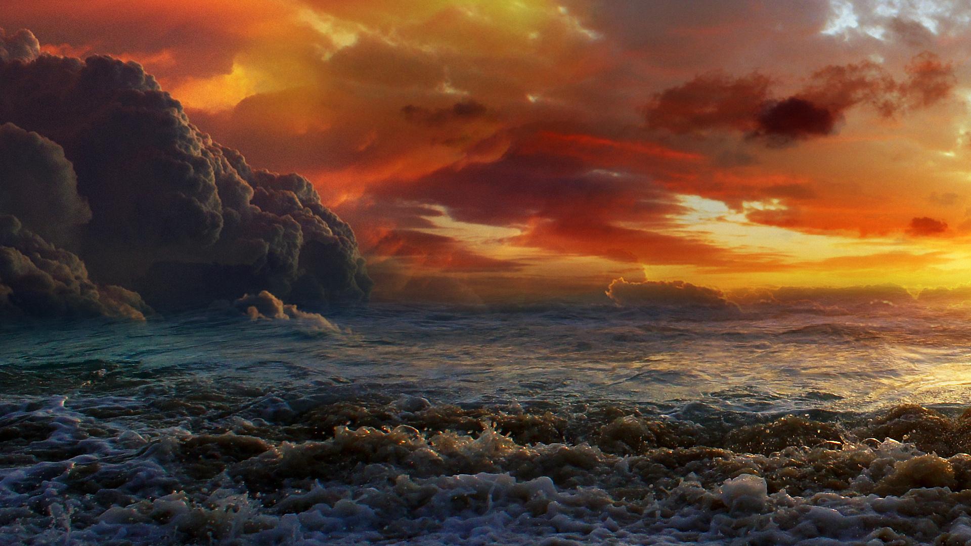 Скалы закат небо облака море без смс