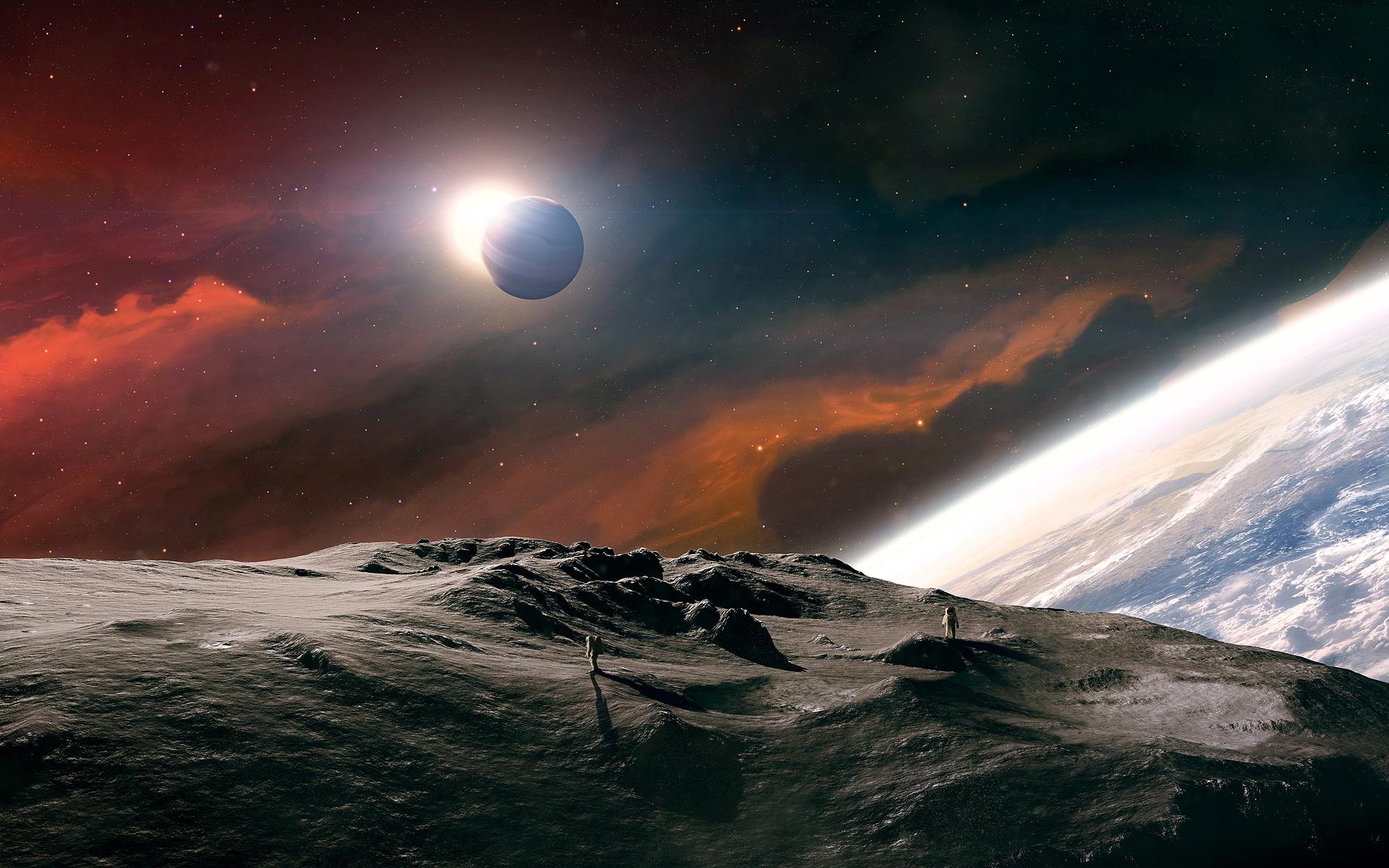 Обои Восход на орбите картинки на рабочий стол на тему Космос - скачать скачать