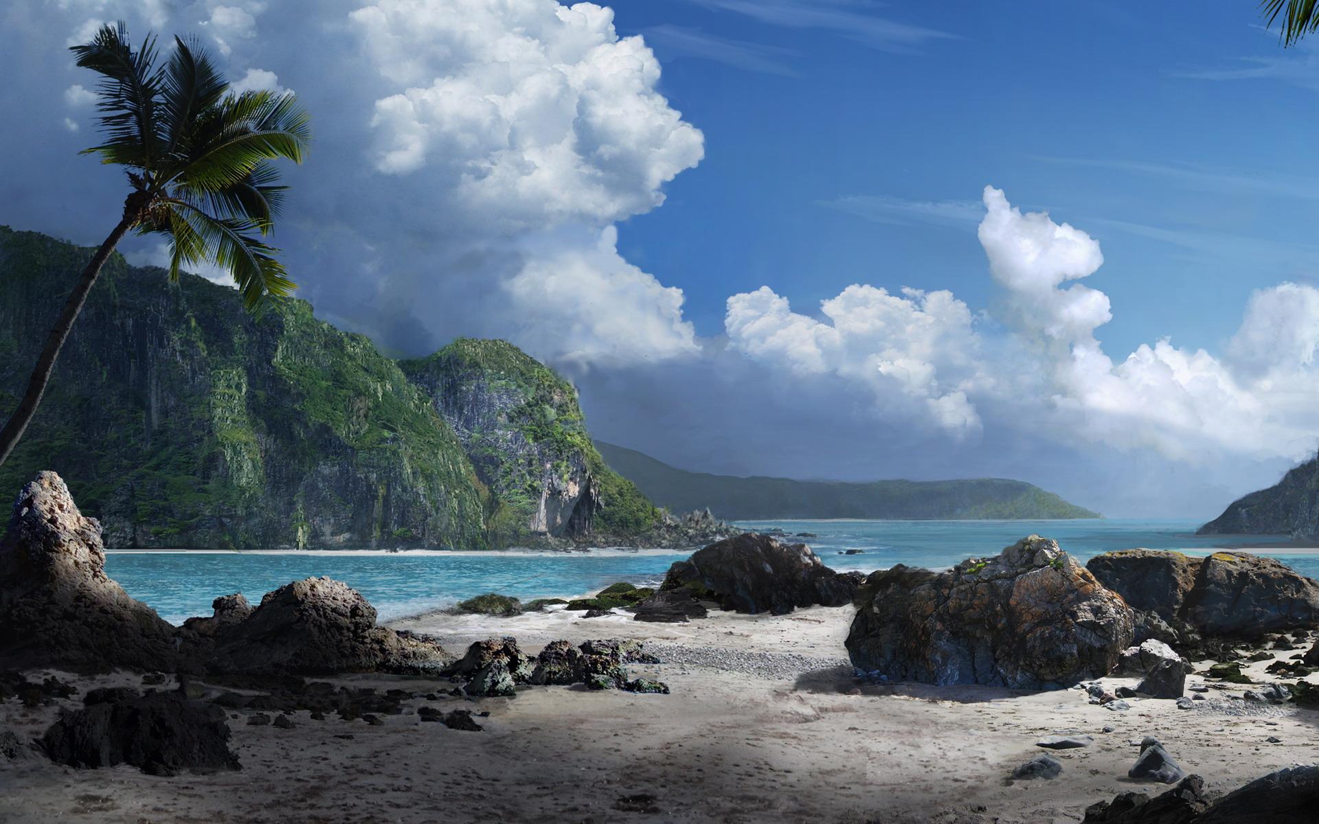 маленькие острова среди гор  № 253132  скачать