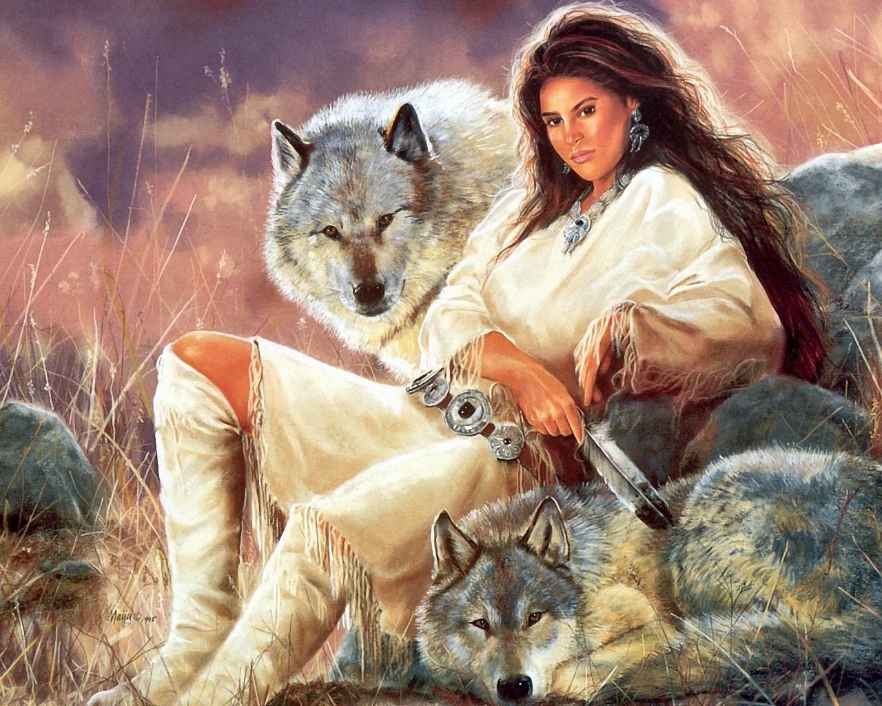 Девушка с волчонком фото