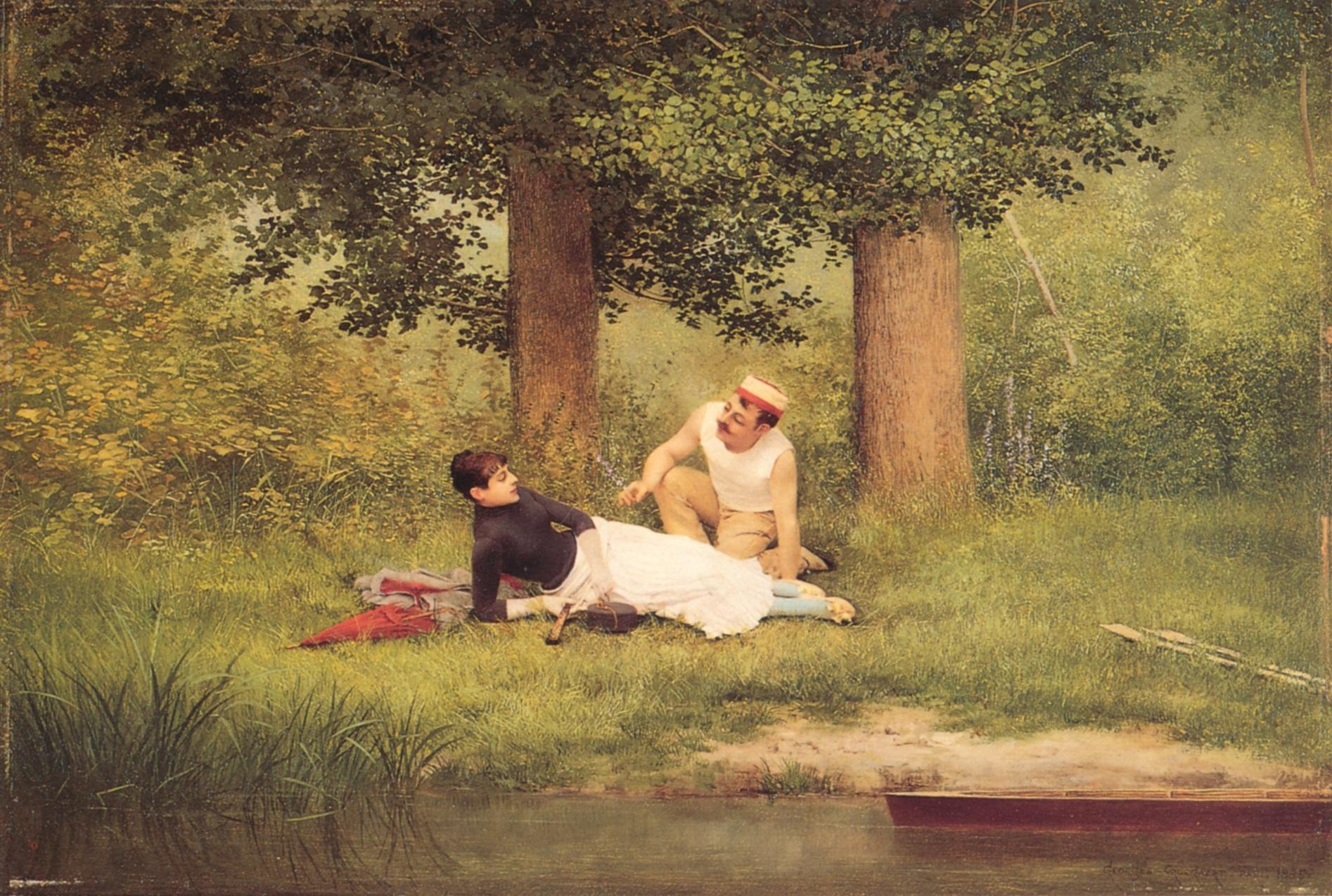 Paintings Reproductions Croegaert, Georges The Flirtation, 1885.