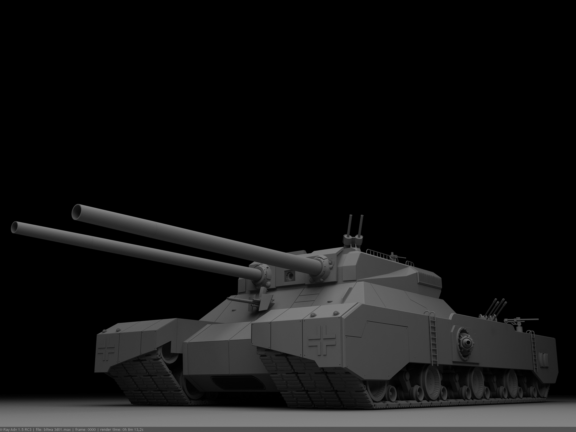 Фотография Танки Landkreuzer P.1000 Ratte Серый 3D Графика Армия