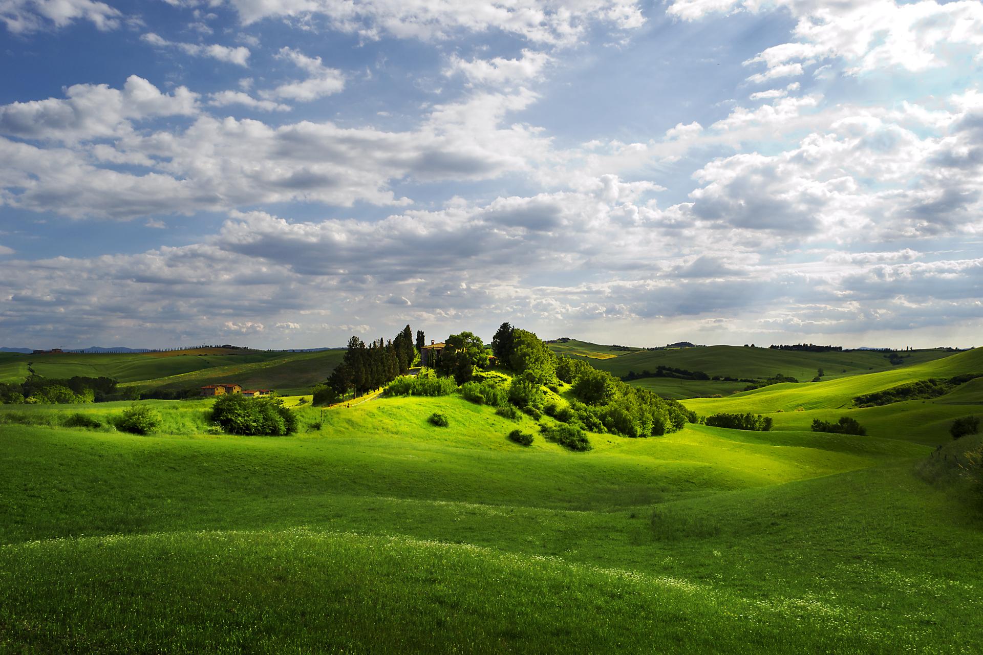 Поля, вид с холма  № 2907895 бесплатно