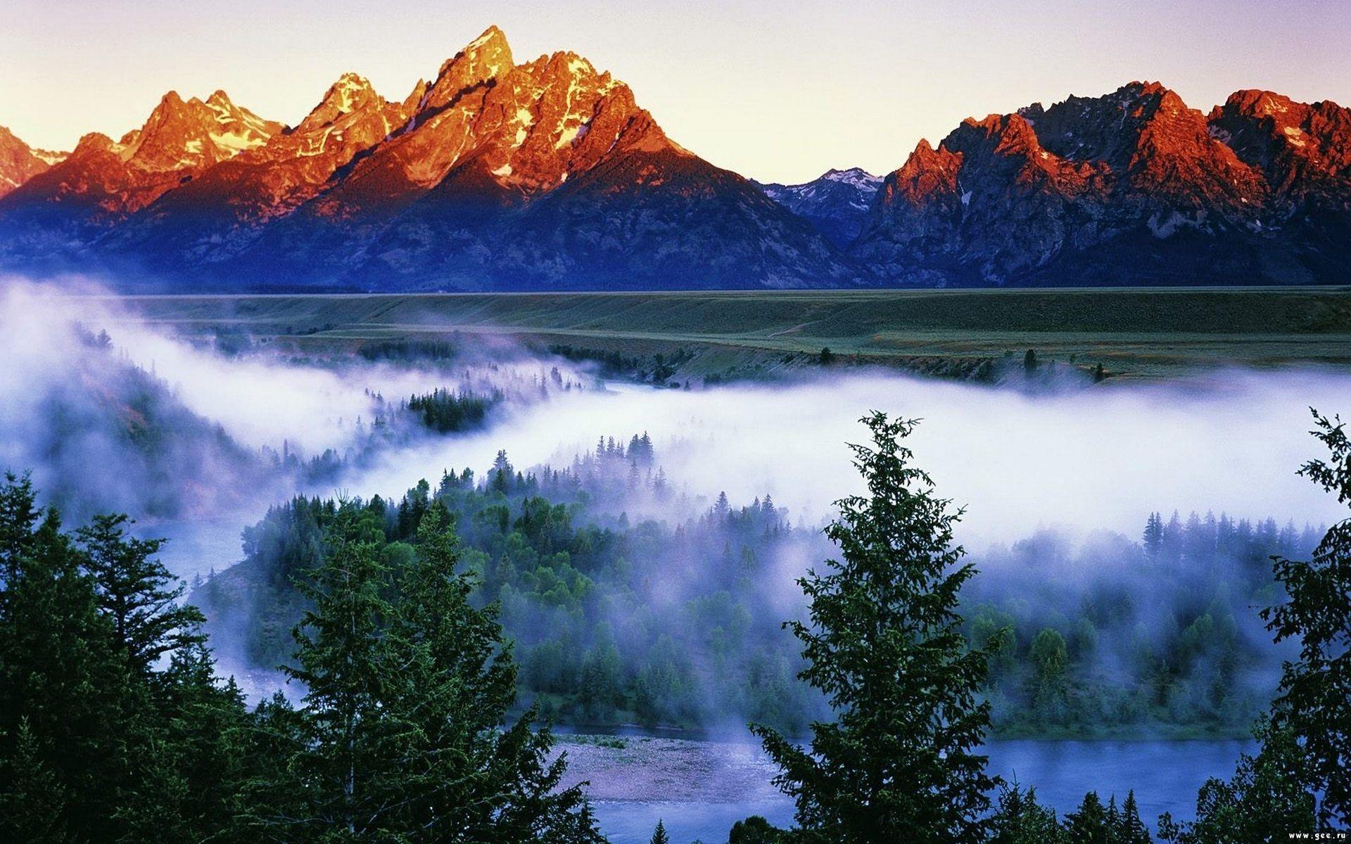 природа река деревья облака горы загрузить