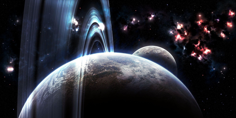 Обои Красная планета горизонт фантастика космос картинки на рабочий стол на тему Космос - скачать без смс