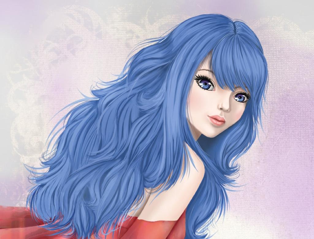 картинки аниме с синими волосами: