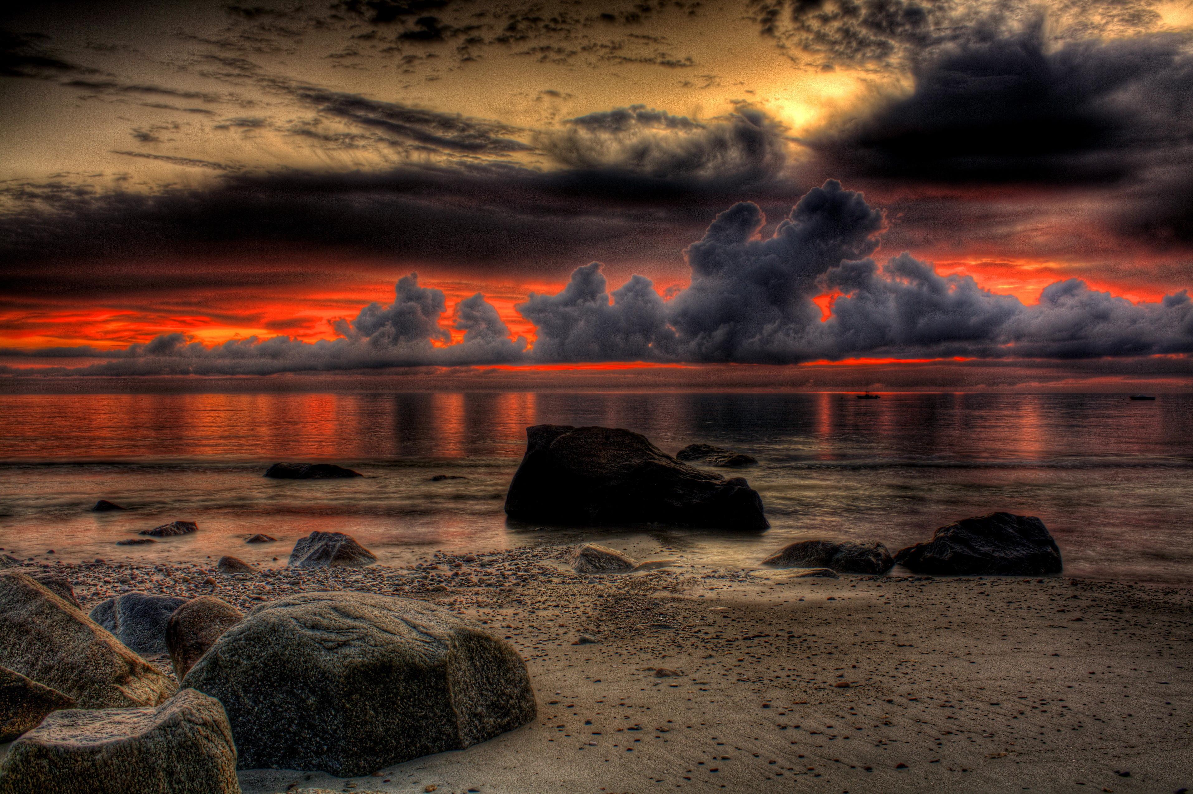 море океан камни скалы закат sea the ocean stones rock sunset  № 2530630 загрузить